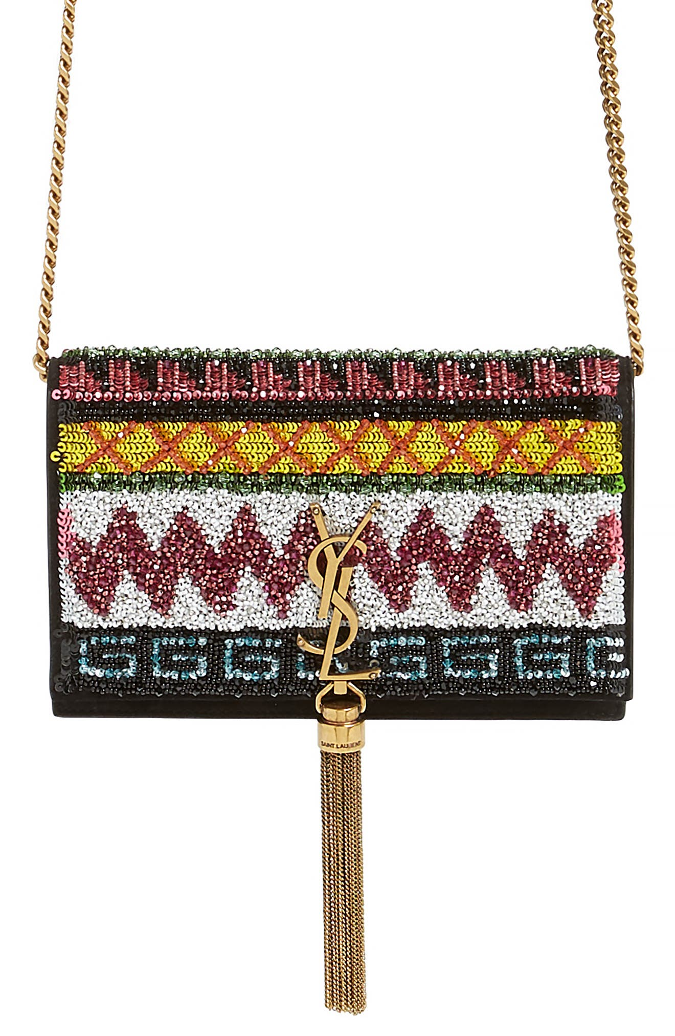 SAINT LAURENT Kate Beaded Wallet on a Chain, Main, color, NERO/ MULTI