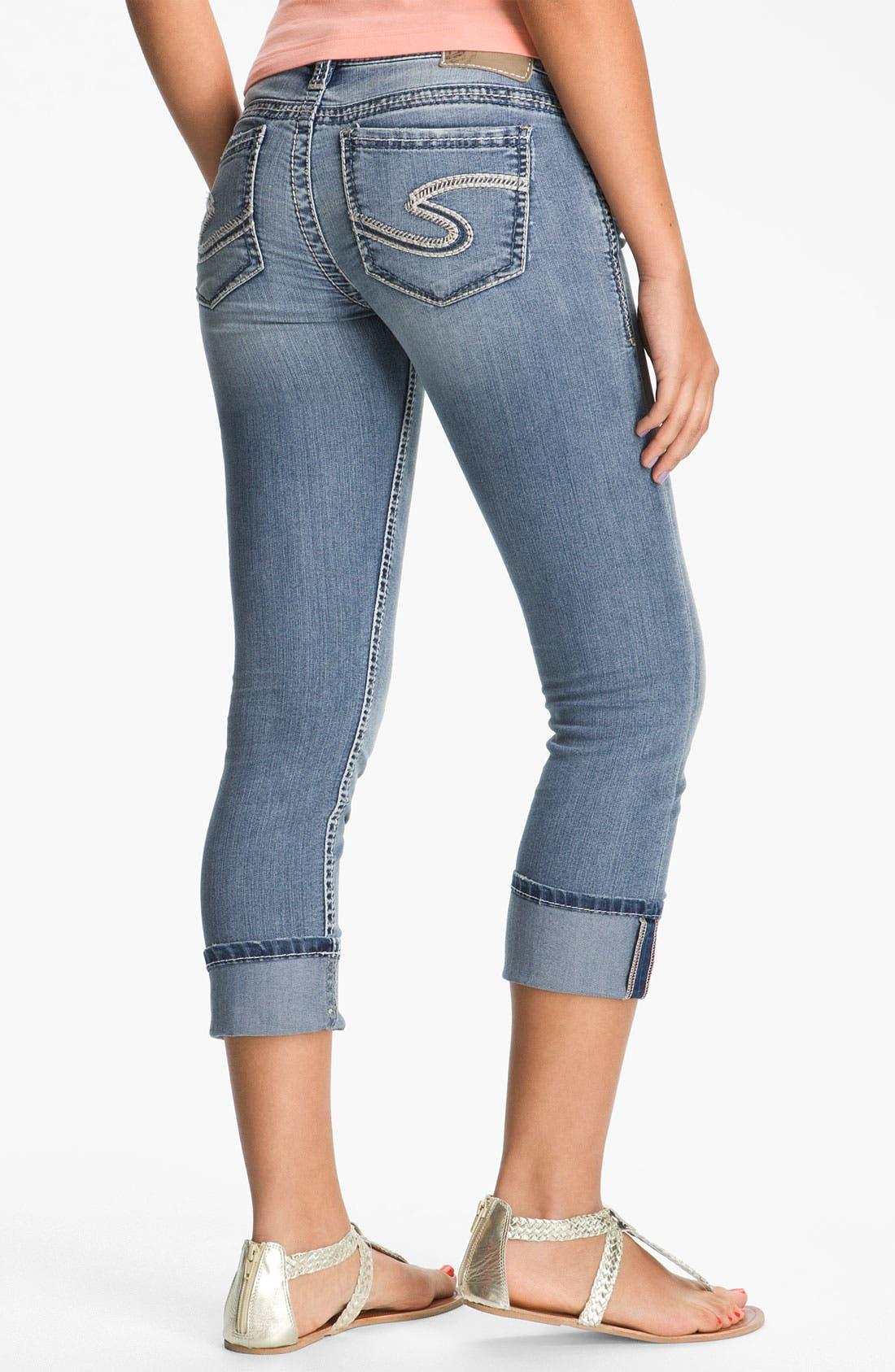 SILVER JEANS CO., Silver Jeans 'Santorini' Crop Stretch Jeans, Alternate thumbnail 3, color, 402