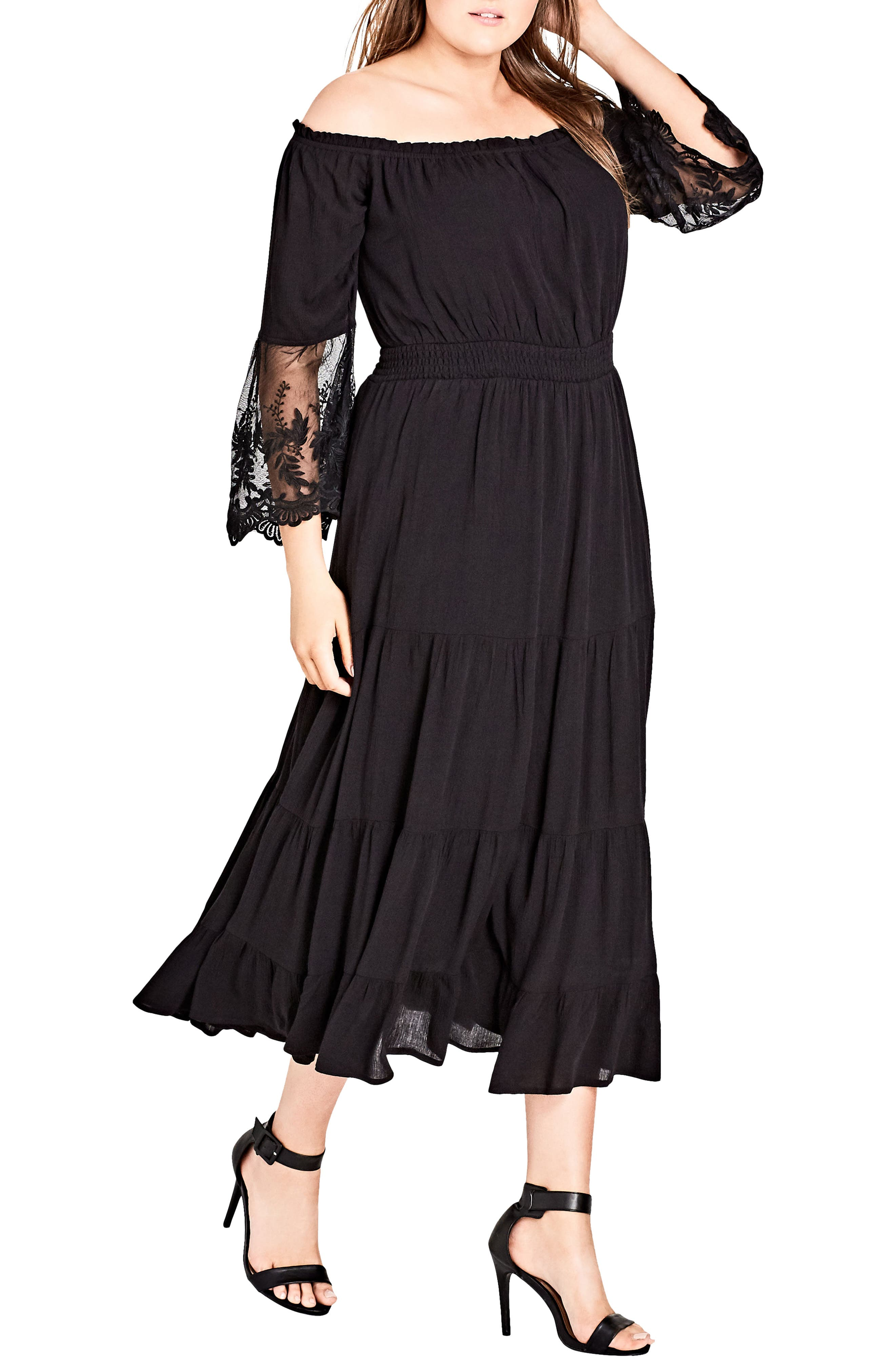 CITY CHIC Ethereal Maxi Dress, Main, color, BLACK