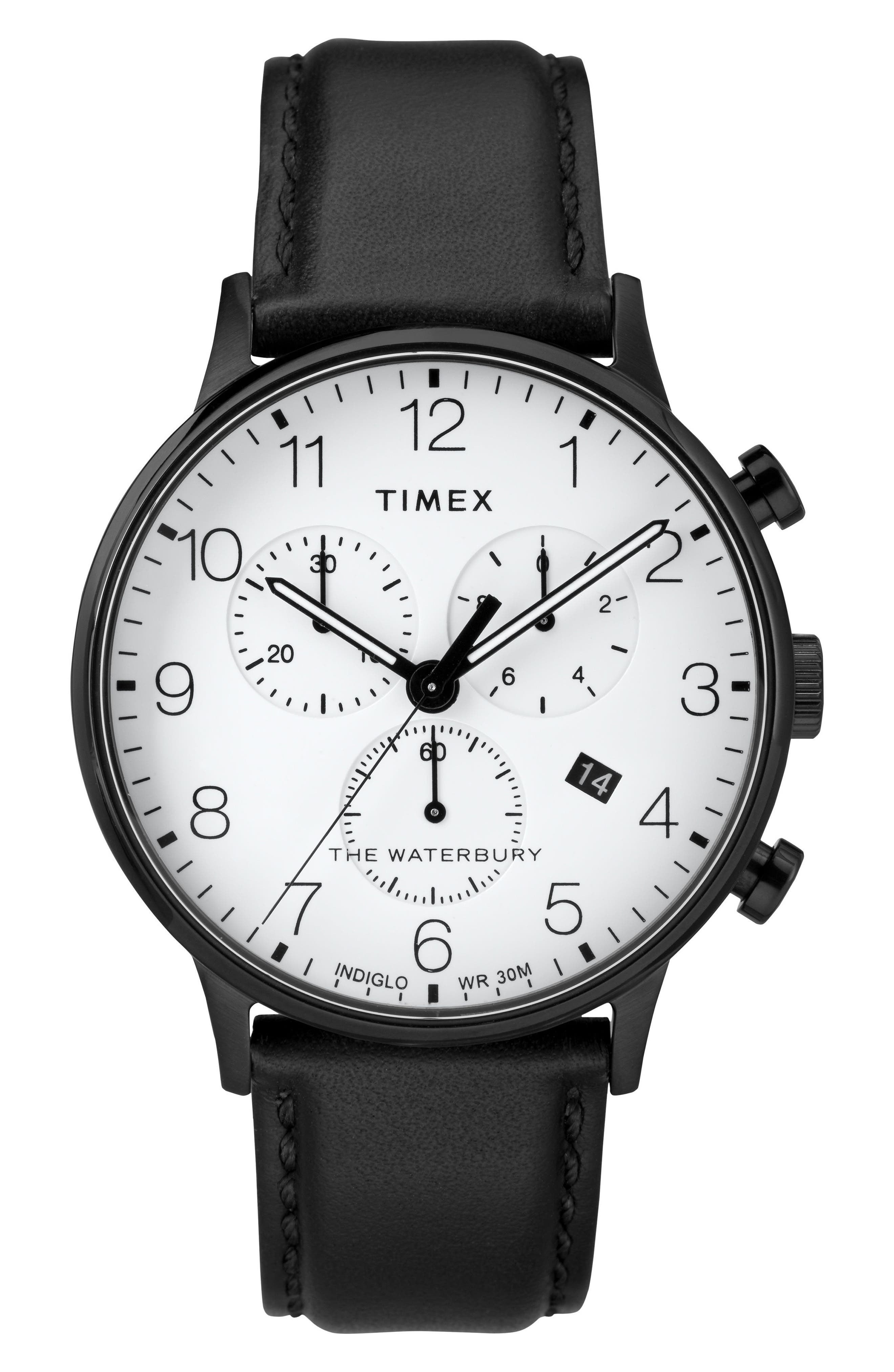 TIMEX<SUP>®</SUP> Waterbury Chronograph Leather Strap Watch, 40mm, Main, color, BLACK/ WHITE/ BLACK