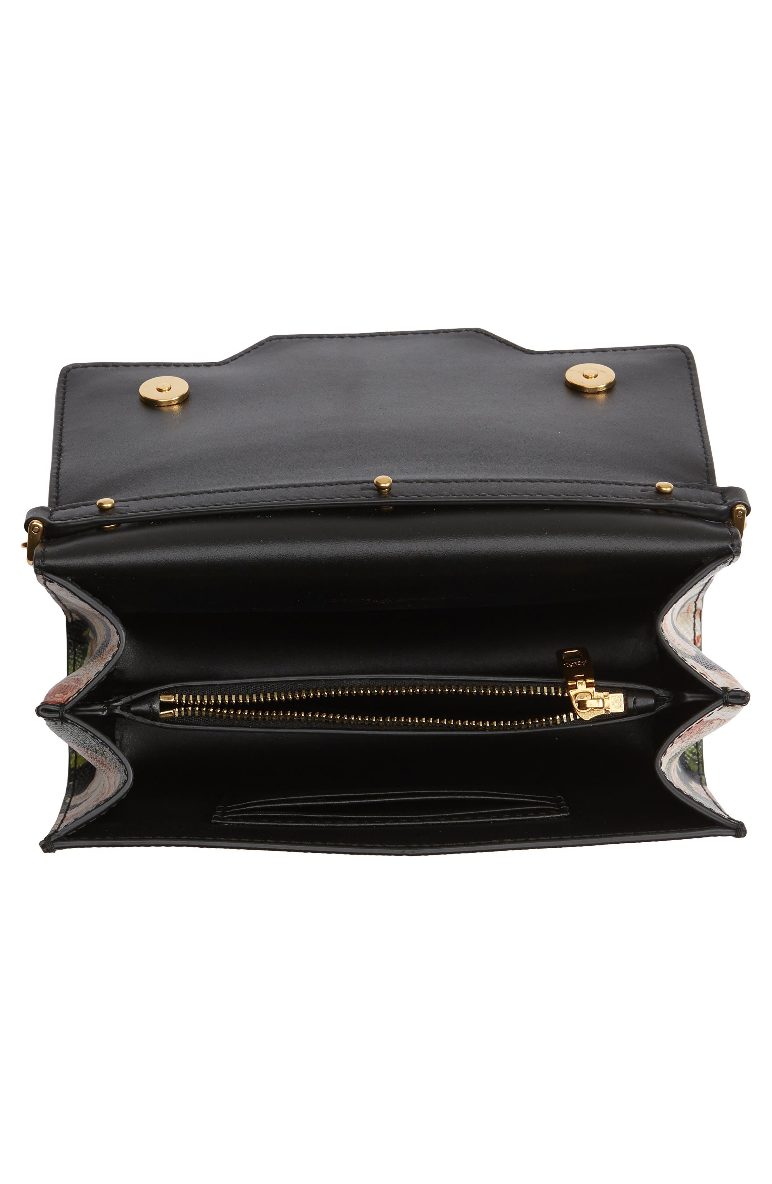 DOLCE&GABBANA, Rose Print Calfskin Leather Shoulder Bag, Alternate thumbnail 4, color, NERO/ ROSE
