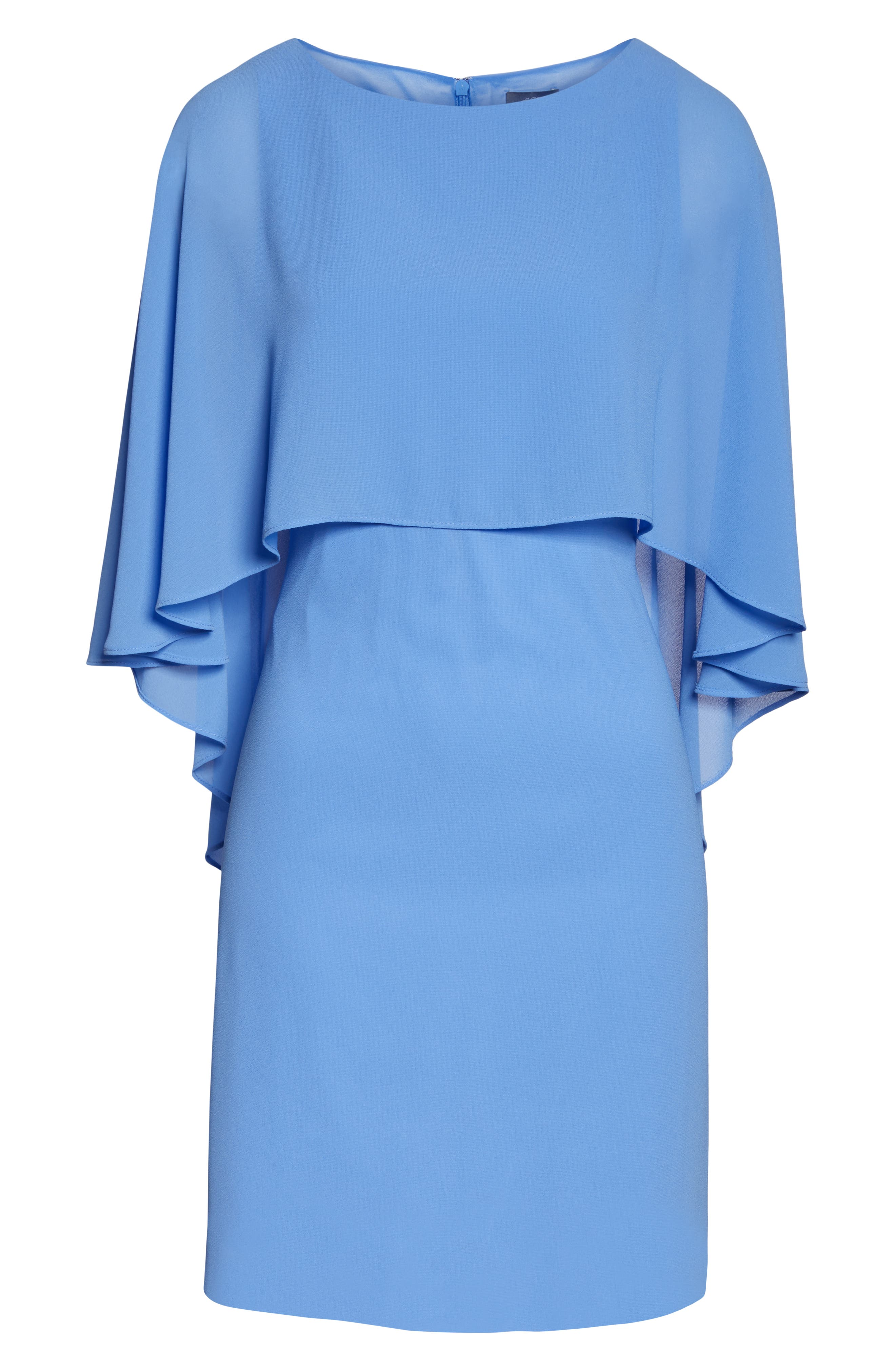 VINCE CAMUTO, Cape Overlay Dress, Alternate thumbnail 7, color, PERIWINKLE