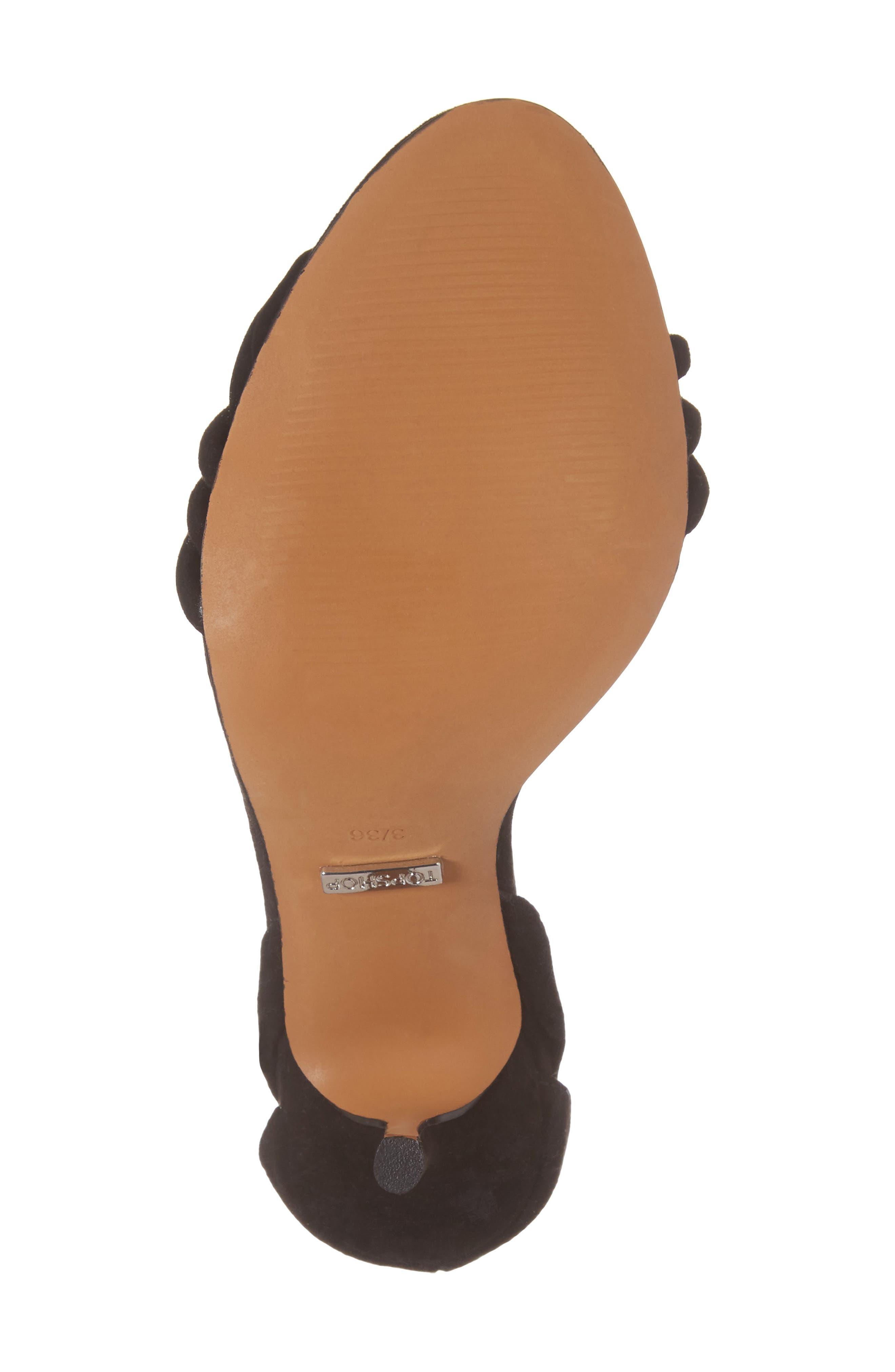 TOPSHOP, Ramona Ankle Wrap Sandal, Alternate thumbnail 6, color, 001