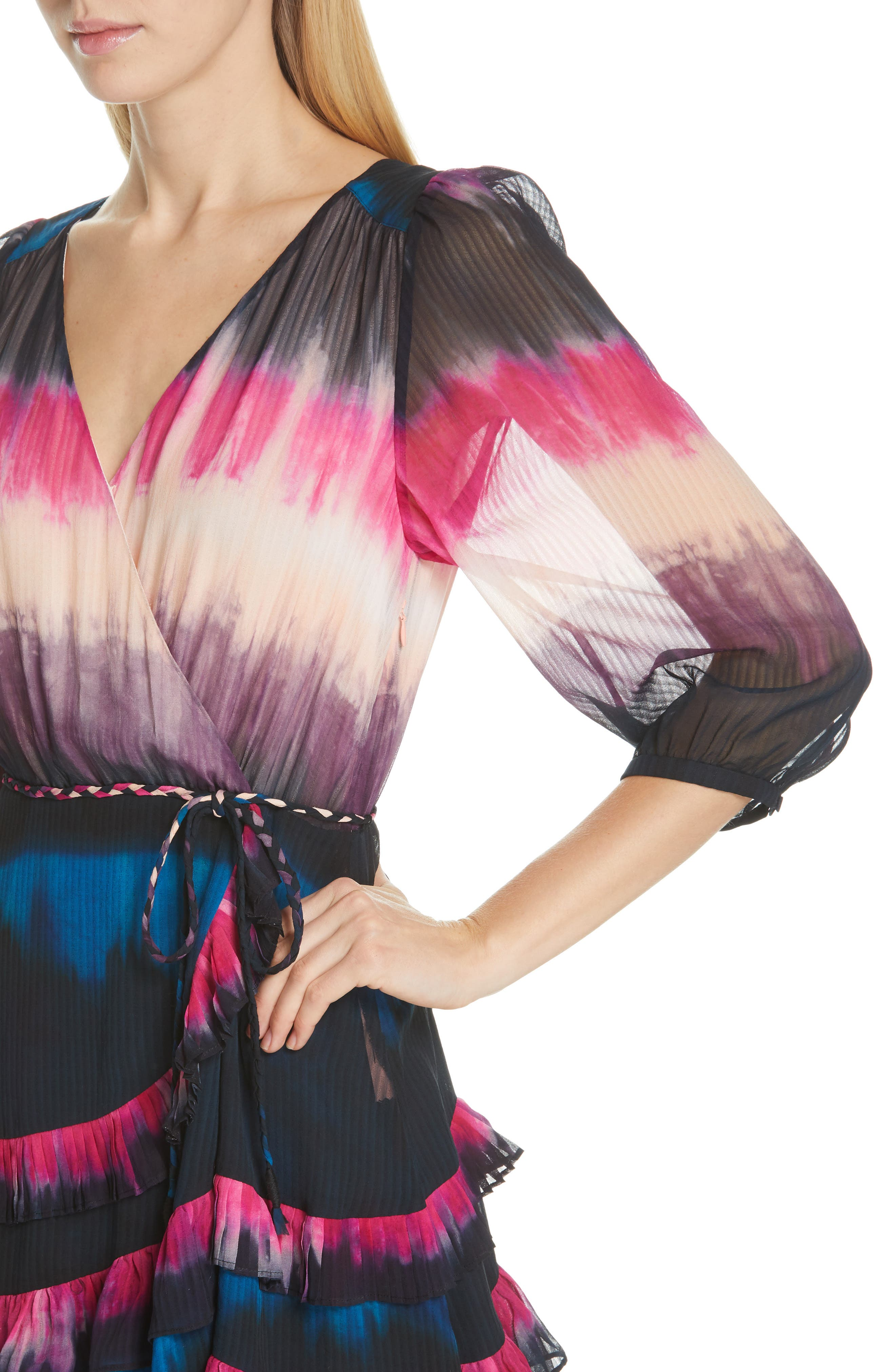 TANYA TAYLOR, Valeria Tie Dye Silk Faux Wrap Dress, Alternate thumbnail 4, color, TIE DYE STRIPE