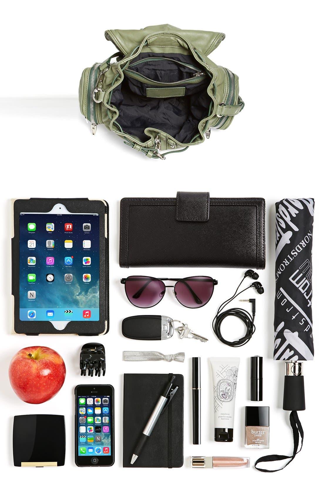 ALEXANDER WANG, 'Mini Marti' Leather Backpack, Alternate thumbnail 3, color, BLACK SLVR HRDR