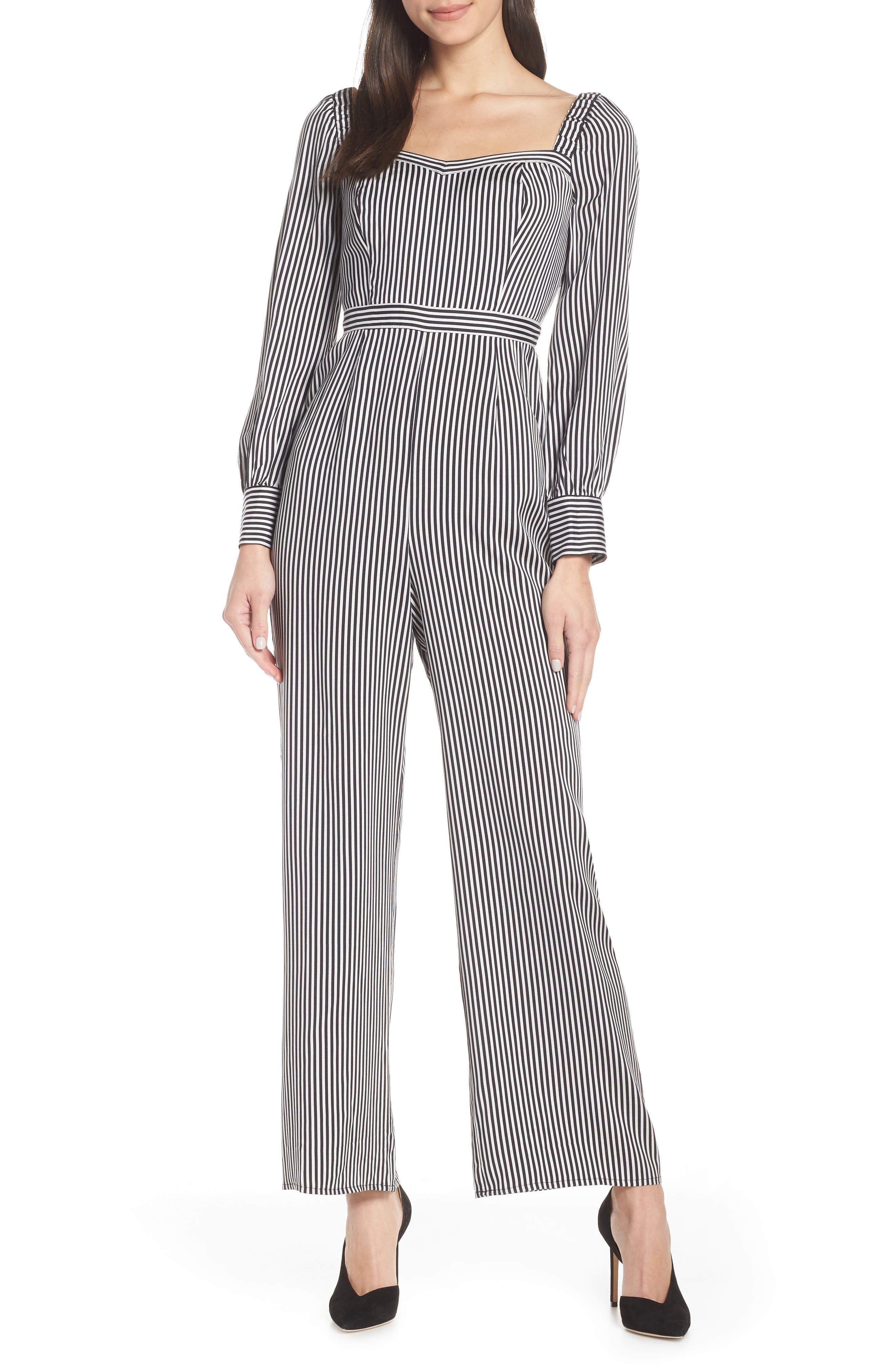 ALI & JAY, Retro Stripe Jumpsuit, Main thumbnail 1, color, BLACK/ WHITE