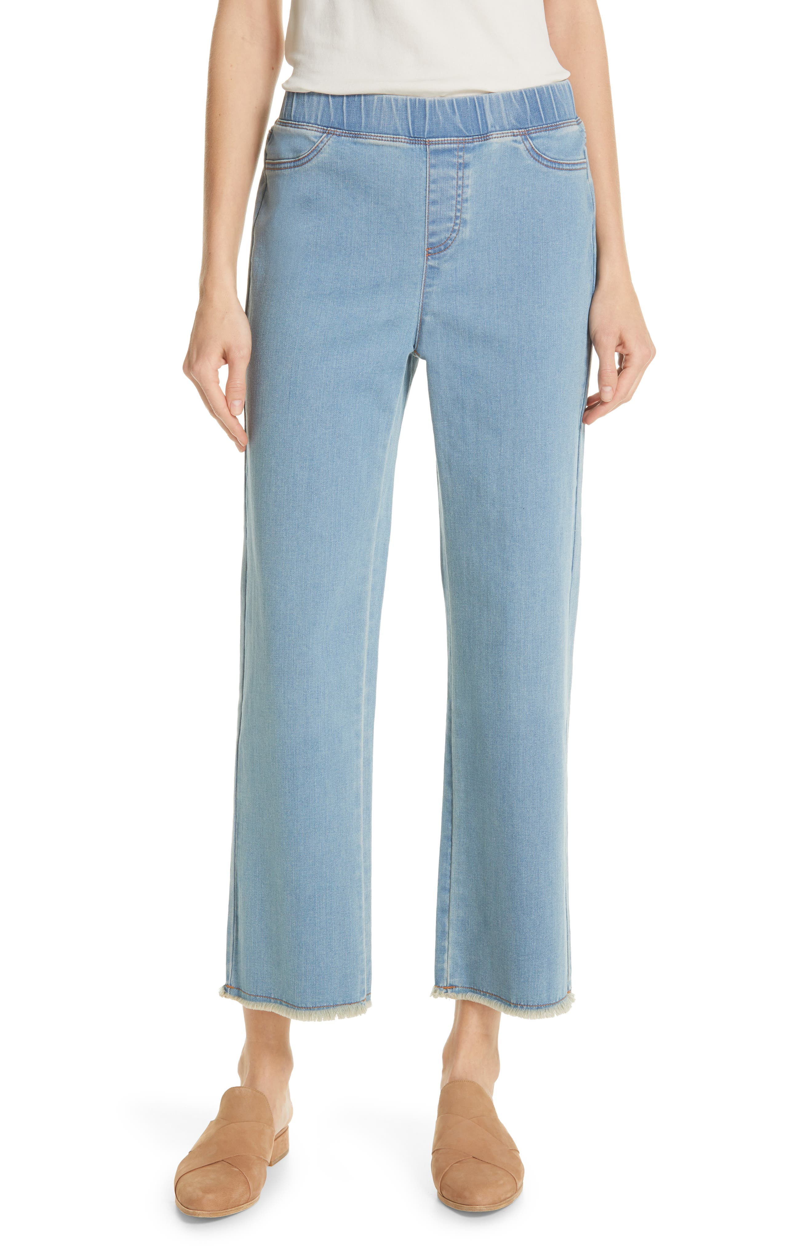 EILEEN FISHER, Frayed Hem Pull-On Ankle Jeans, Main thumbnail 1, color, FROST