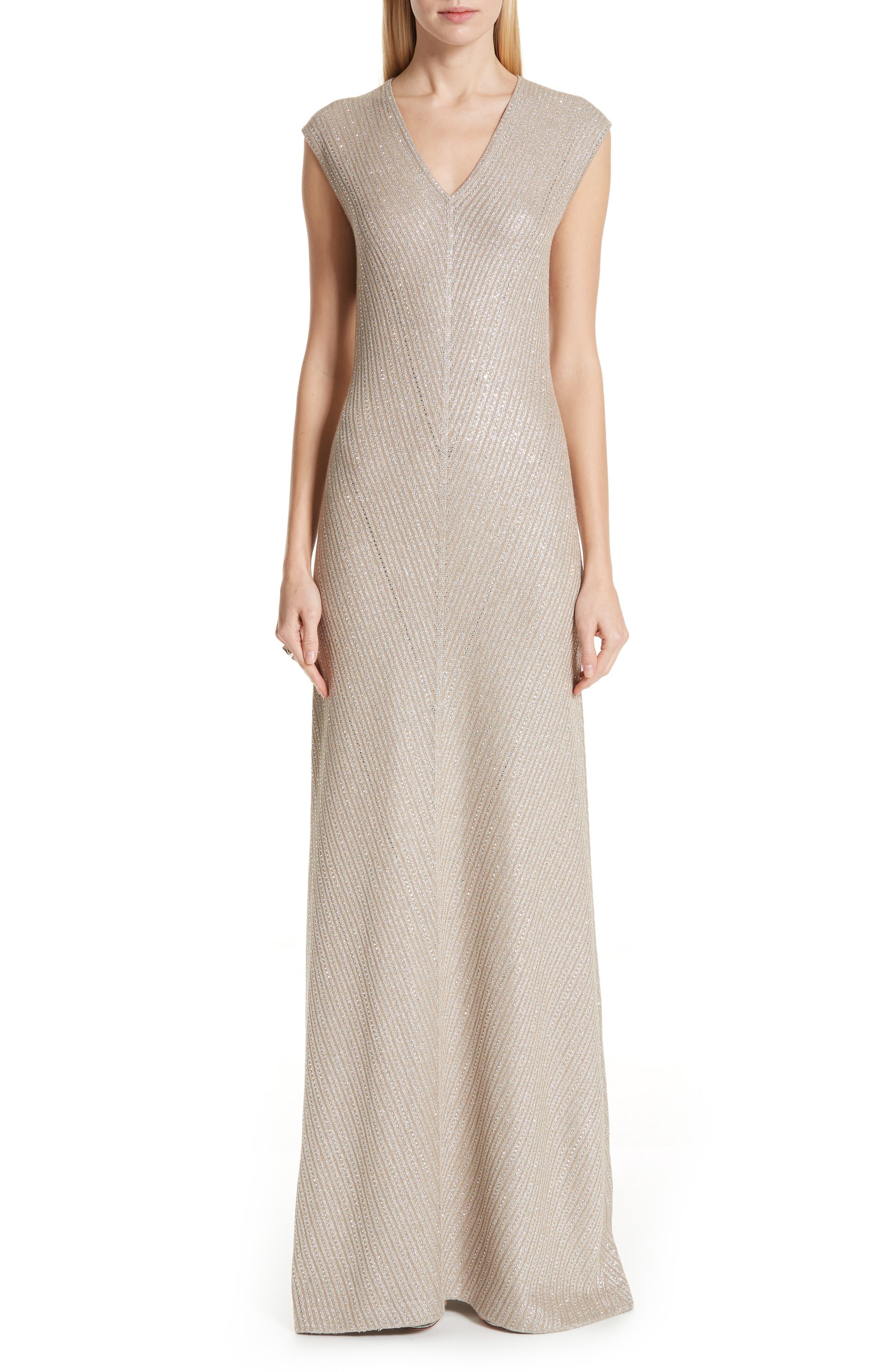 ST. JOHN COLLECTION, Brielle Knit V-Neck Gown, Main thumbnail 1, color, DARK KHAKI/ GOLD