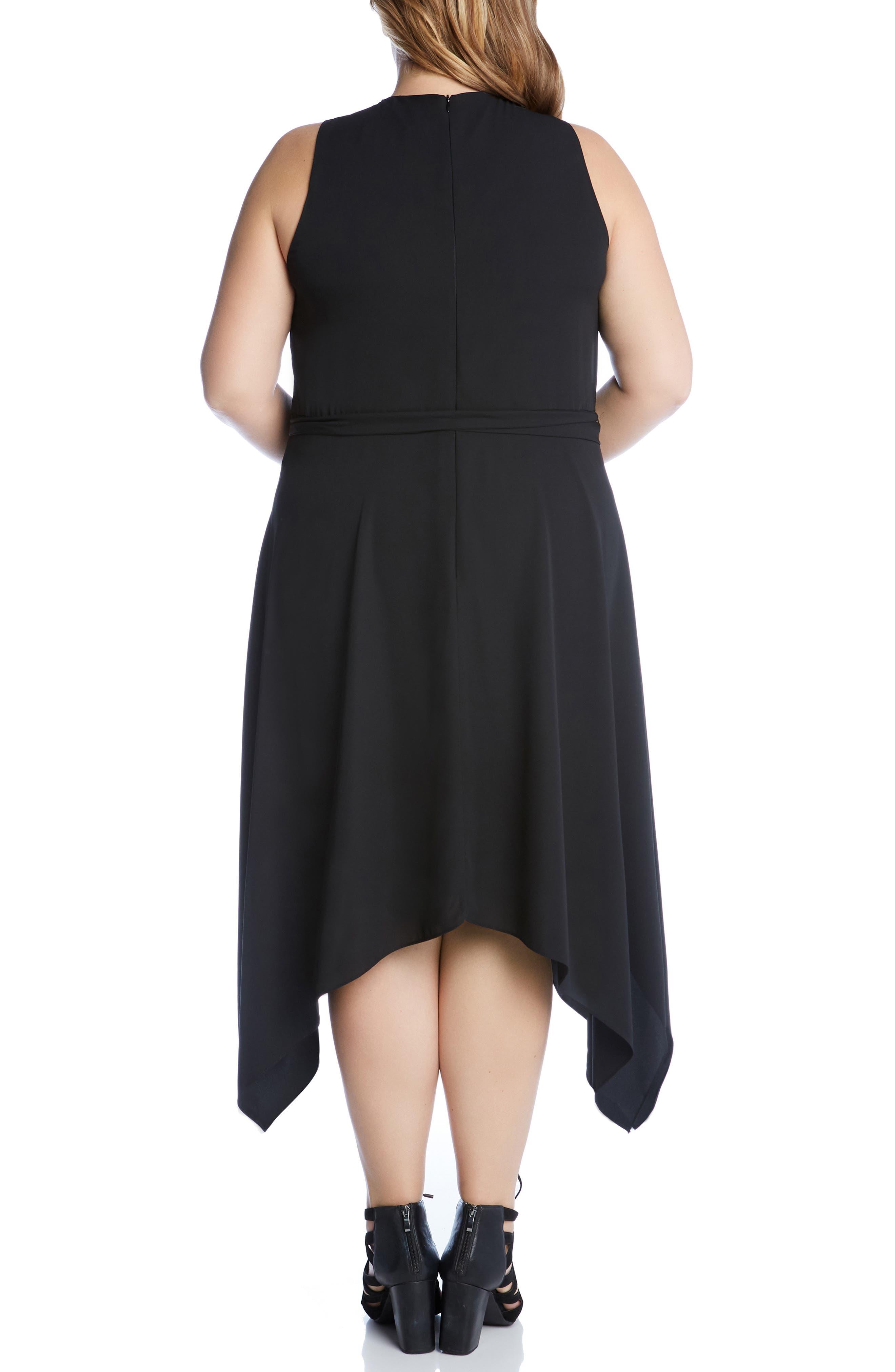 KAREN KANE, Sleeveless Handkerchief Hem Dress, Alternate thumbnail 2, color, BLACK