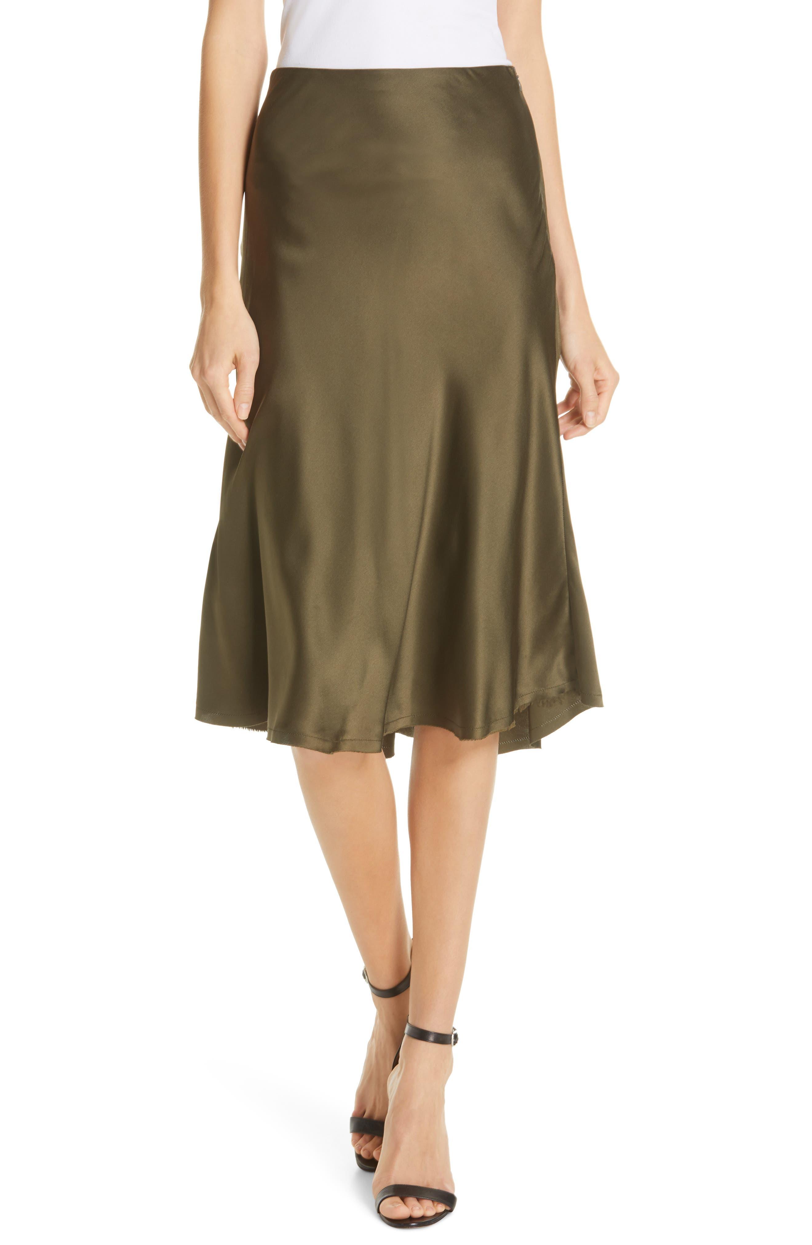 NILI LOTAN Lane Silk Skirt, Main, color, ARMY GREEN