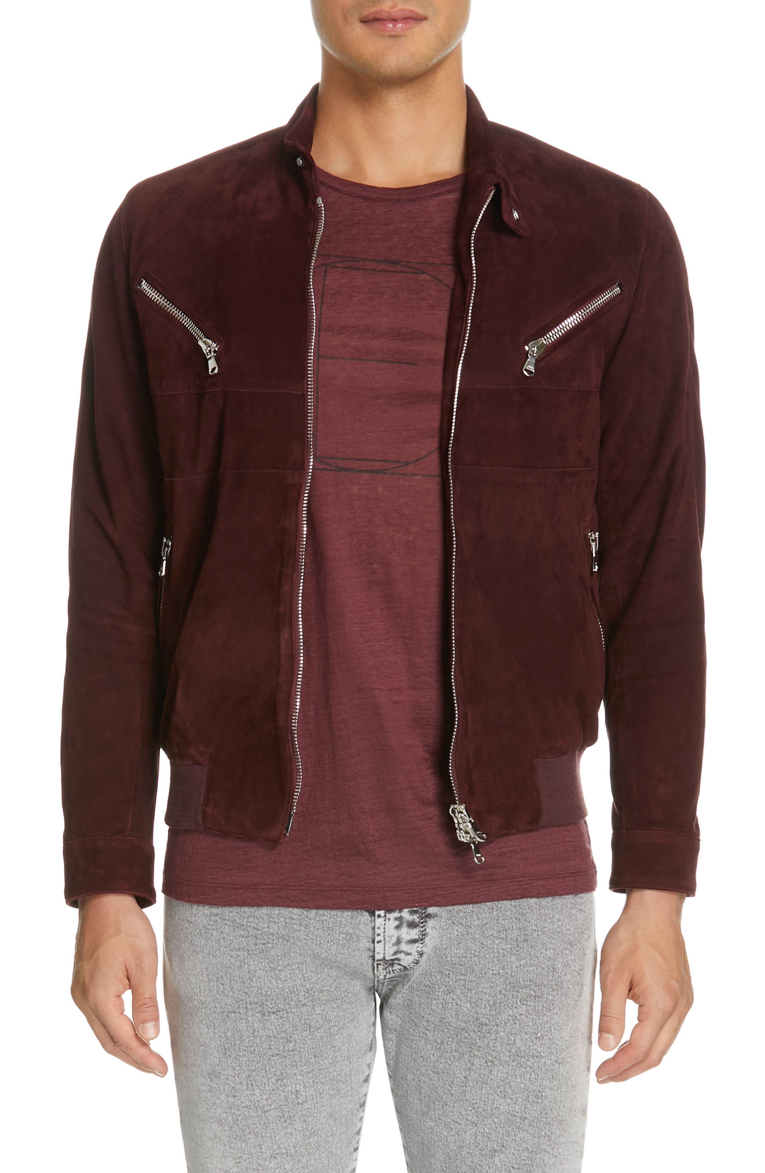 EIDOS, Suede Bomber Jacket, Main thumbnail 1, color, BURGUNDY