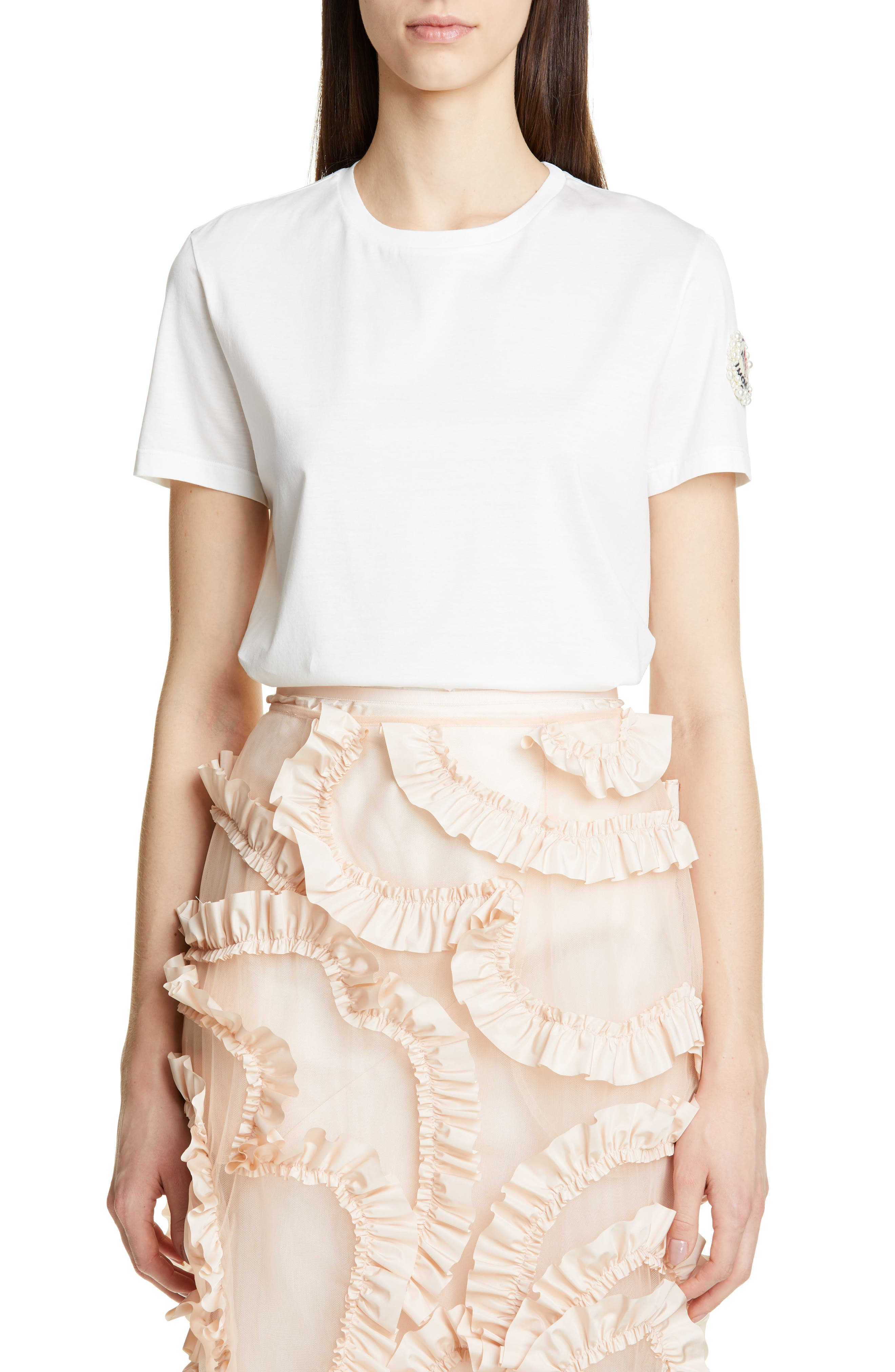 MONCLER GENIUS BY MONCLER x 4 Simone Rocha Imitation Pearl Embellished Tee, Main, color, WHITE