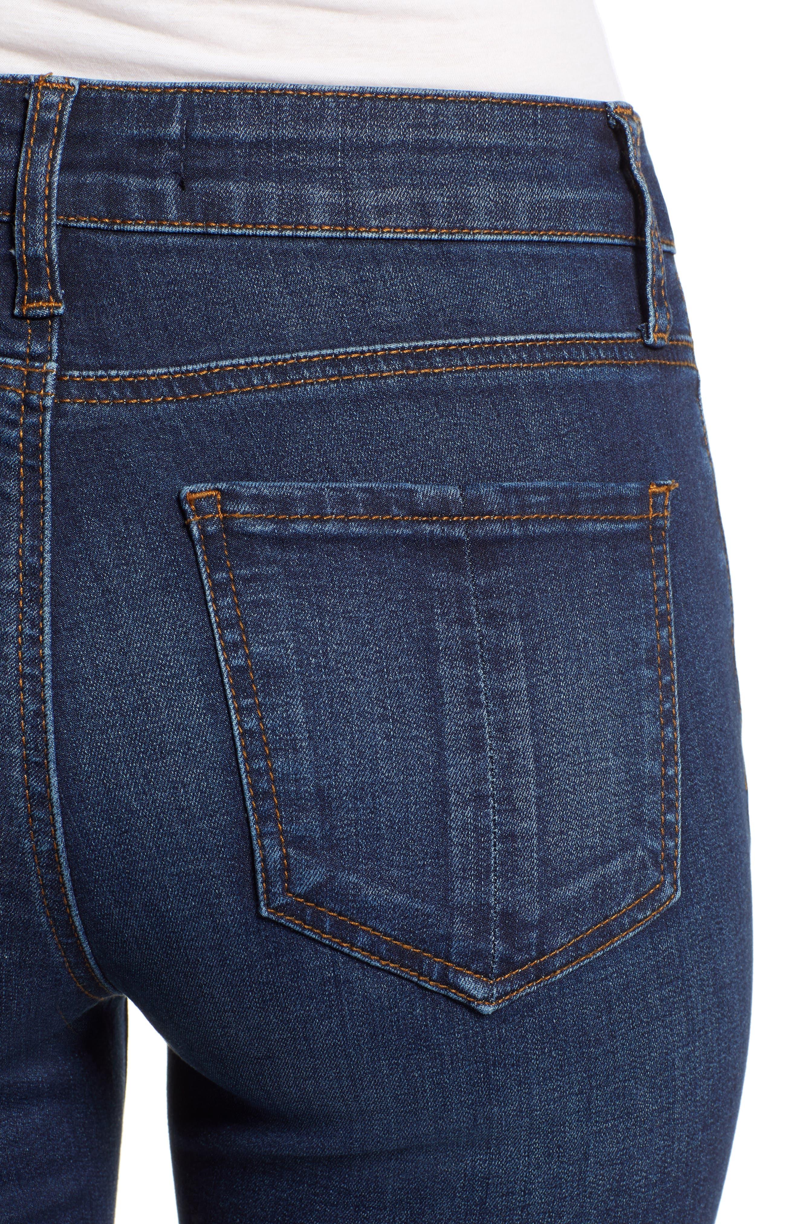 PROSPERITY DENIM, High Waist Skinny Jeans, Alternate thumbnail 5, color, DARK