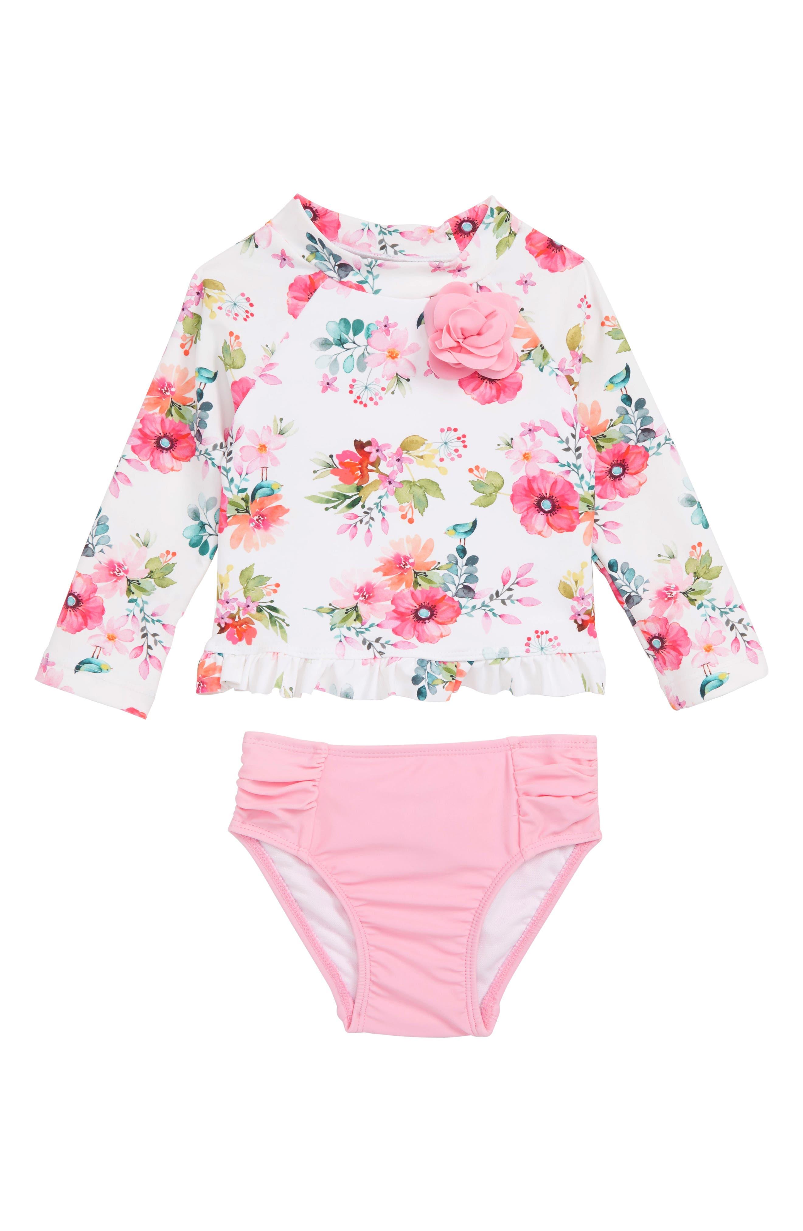 LITTLE ME Watercolor Floral Two-Piece Rashguard Swimsuit, Main, color, FLORAL