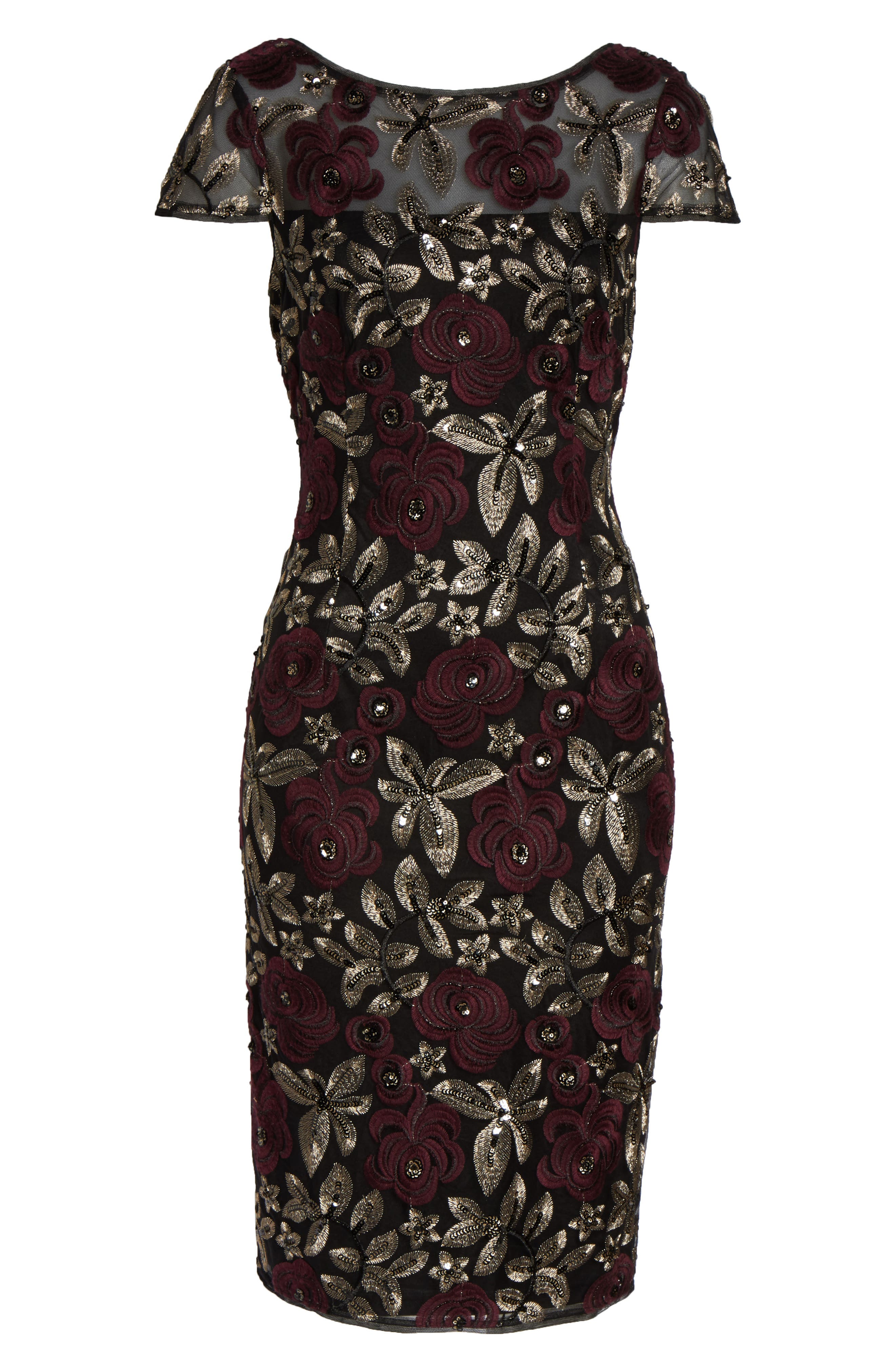 ADRIANNA PAPELL, Sequin Embroidered Cocktail Dress, Alternate thumbnail 7, color, 930