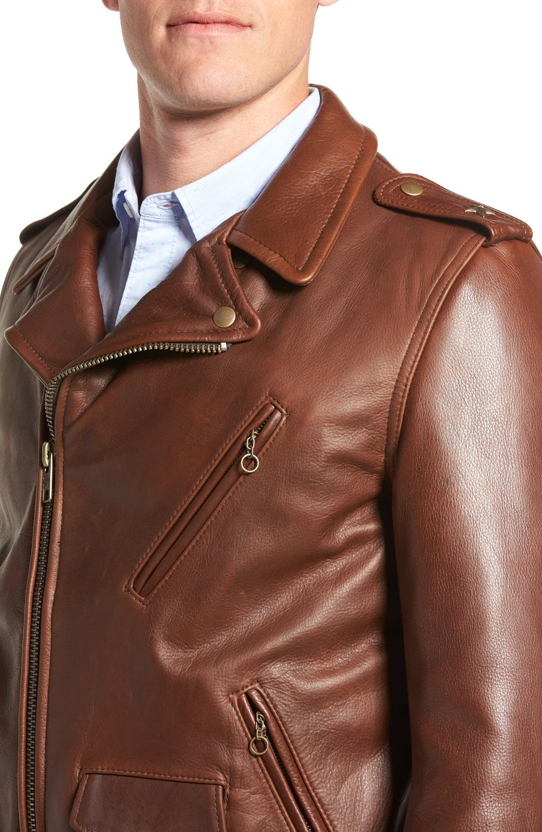 SCHOTT NYC, '50s Oil Tanned Cowhide Leather Moto Jacket, Alternate thumbnail 9, color, BROWN