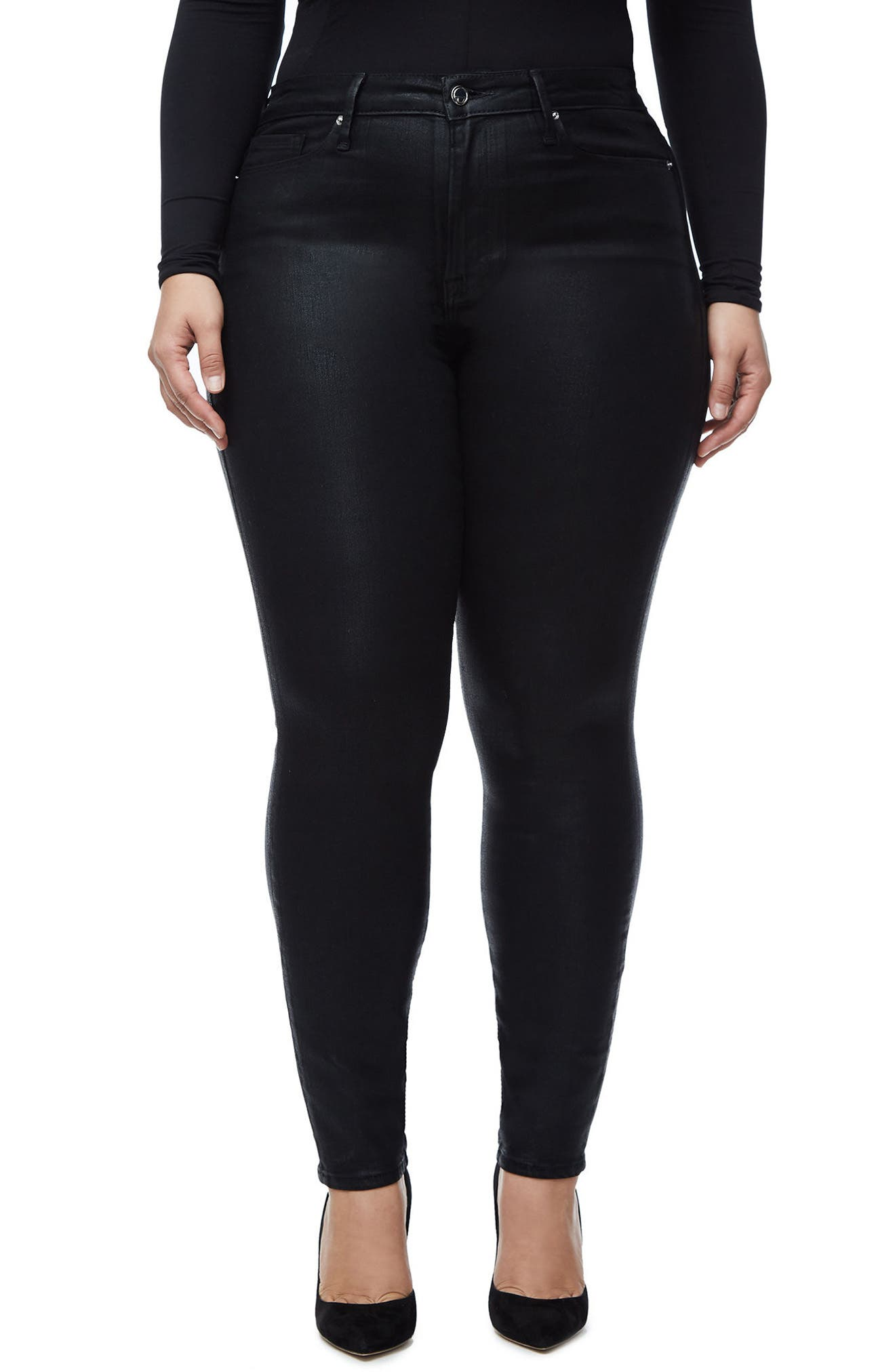 GOOD AMERICAN, Good Legs High Waist Skinny Jeans, Alternate thumbnail 2, color, BLACK