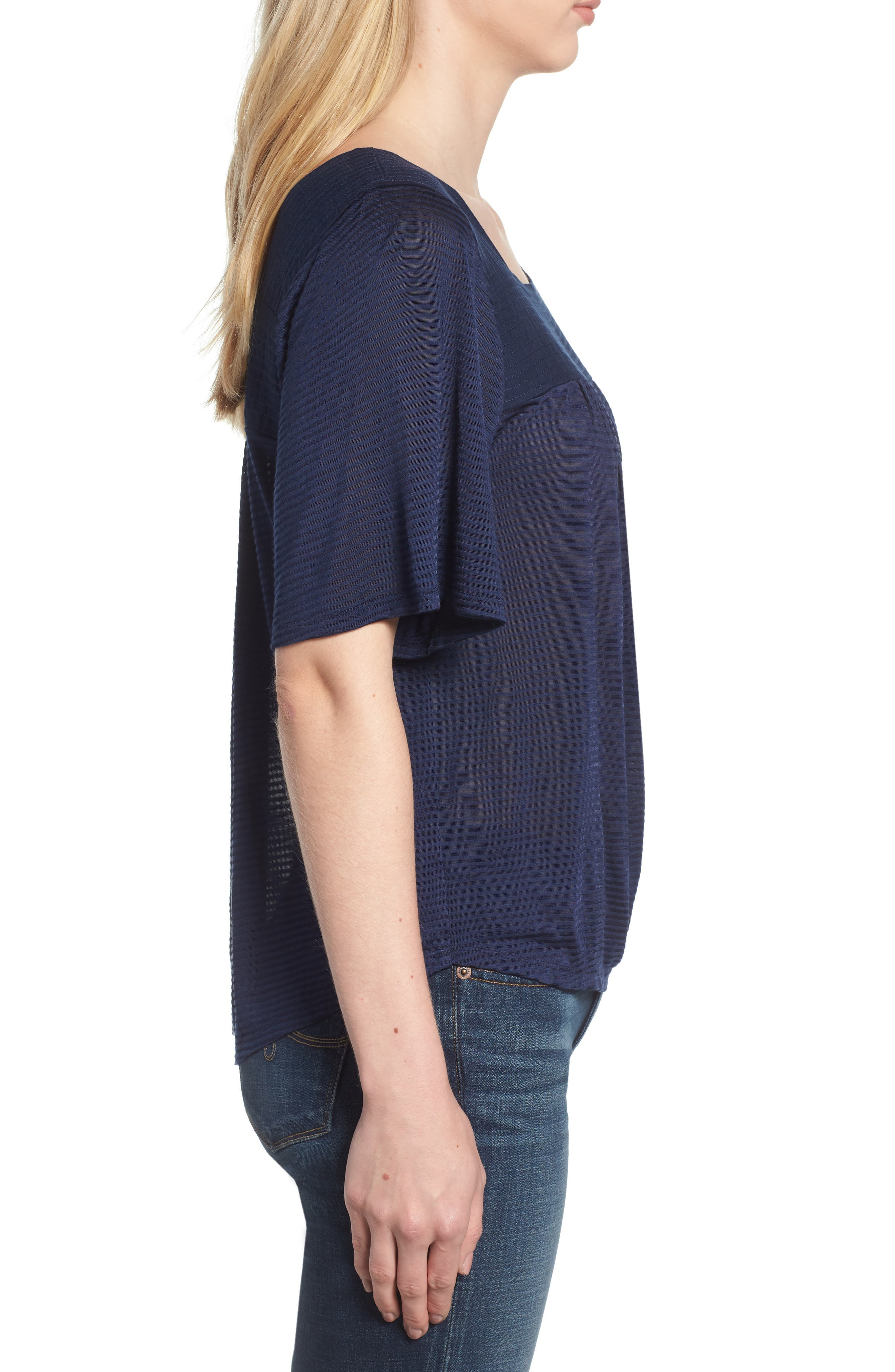 LUCKY BRAND, Shadow Stripe Peasant Top, Alternate thumbnail 3, color, AMERICAN NAVY