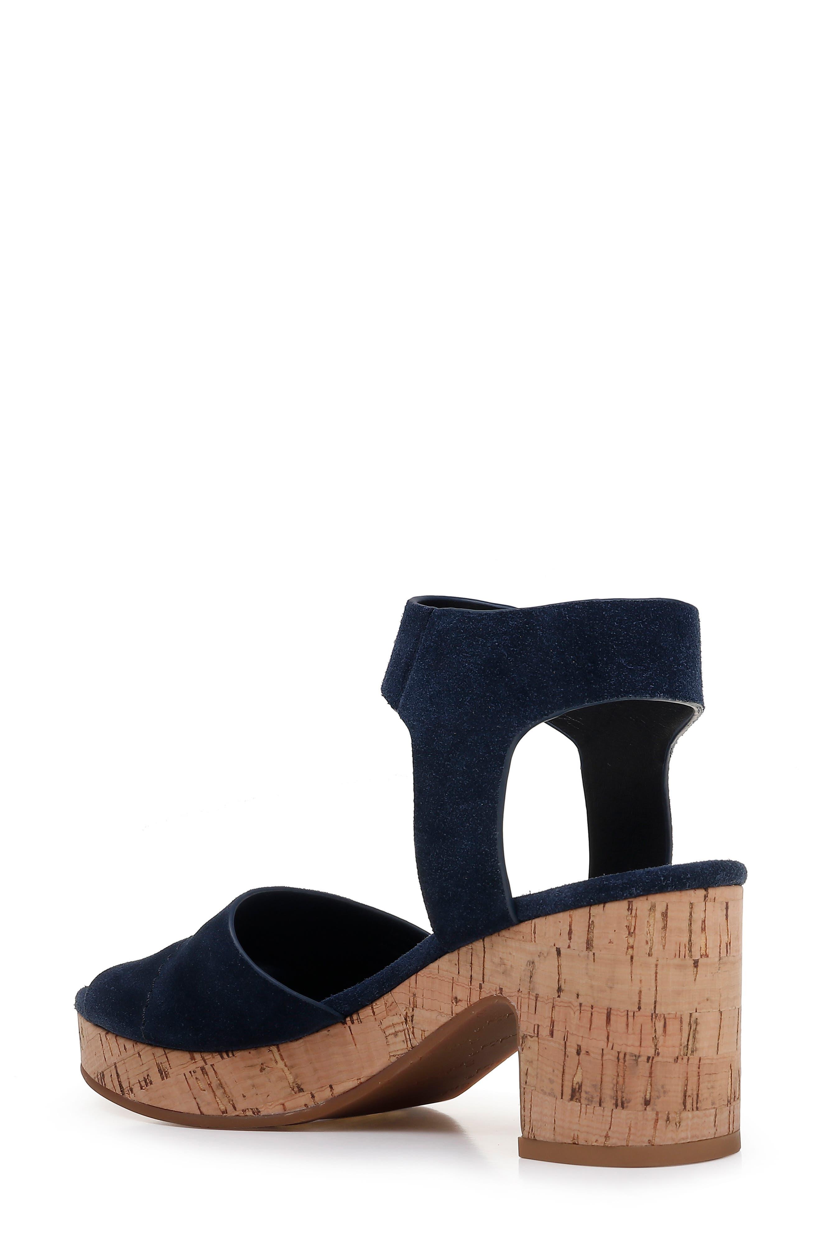 SPLENDID, Thatcher Platform Ankle Strap Sandal, Alternate thumbnail 2, color, NAVY SUEDE