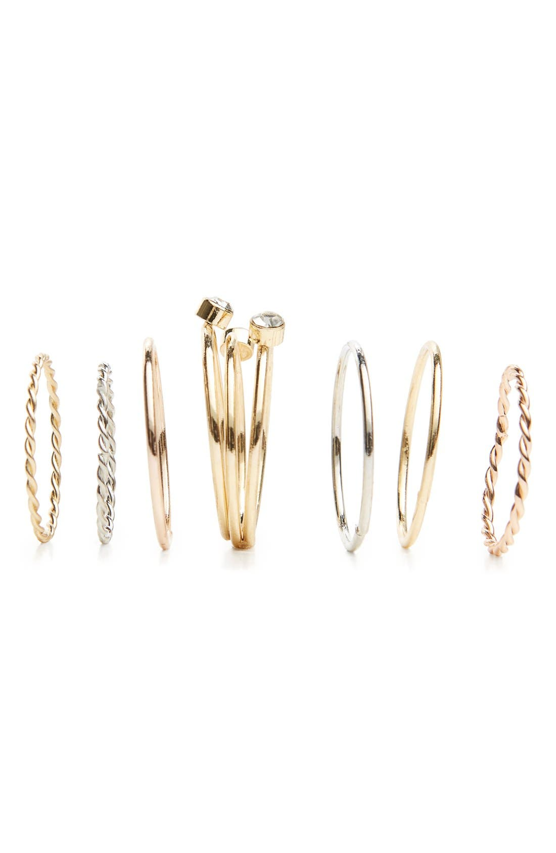 BP. Set of 7 Assorted Rings, Main, color, 710