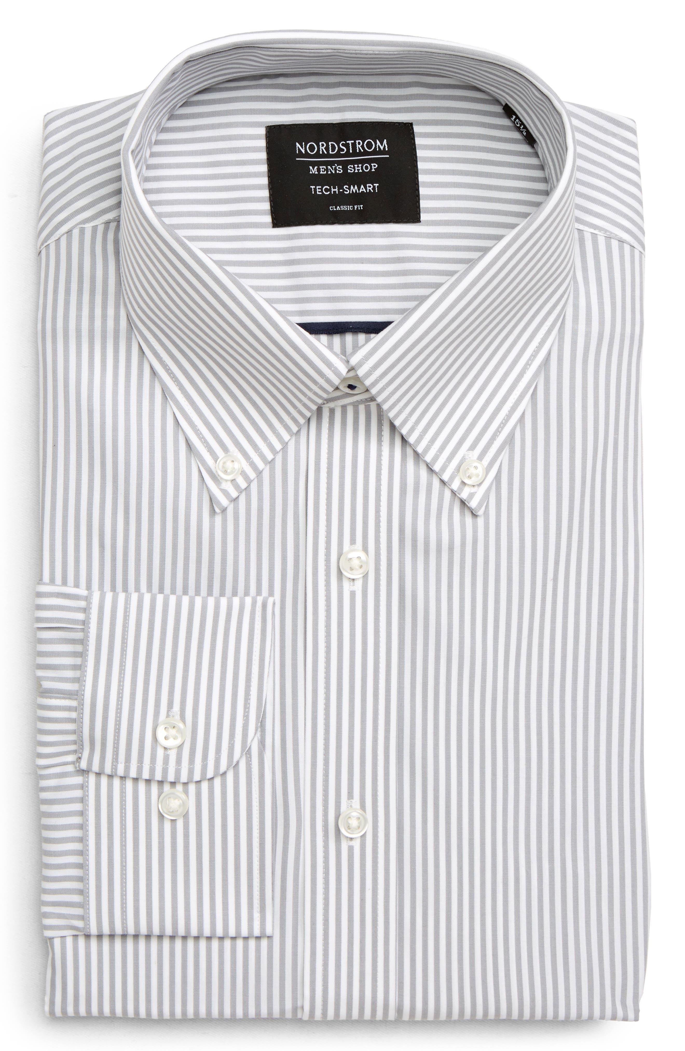 NORDSTROM MEN'S SHOP, Tech-Smart Classic Fit Stretch Stripe Dress Shirt, Main thumbnail 1, color, GREY SLEET