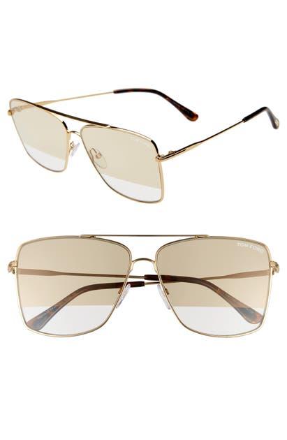 52756a856f64 Tom Ford Magnus 60Mm Aviator Sunglasses - Gold  Havana  Smoke  Gold In  Neutrals