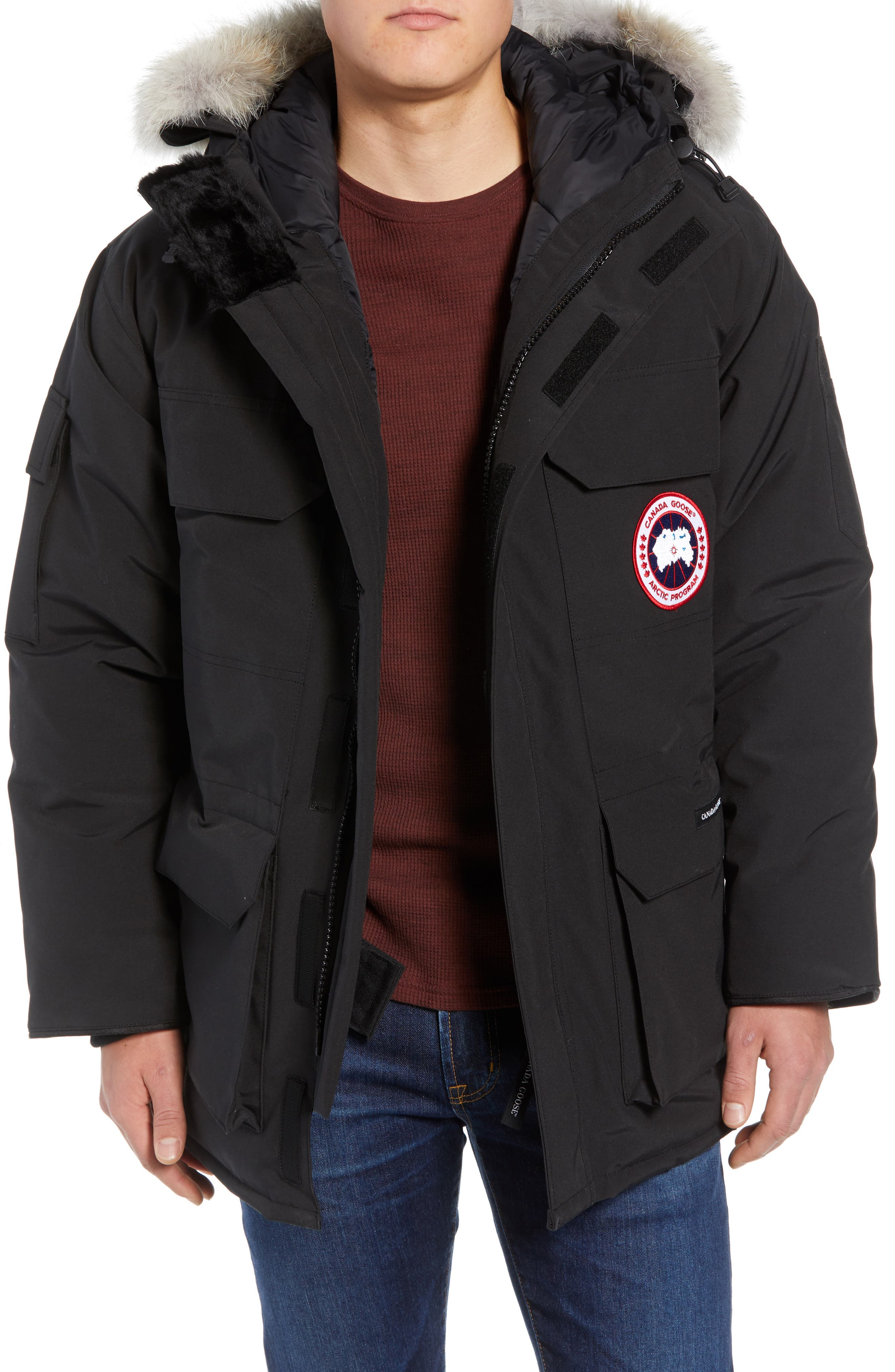 CANADA GOOSE, PBI Expedition Regular Fit Down Parka with Genuine Coyote Fur Trim, Main thumbnail 1, color, BLACK