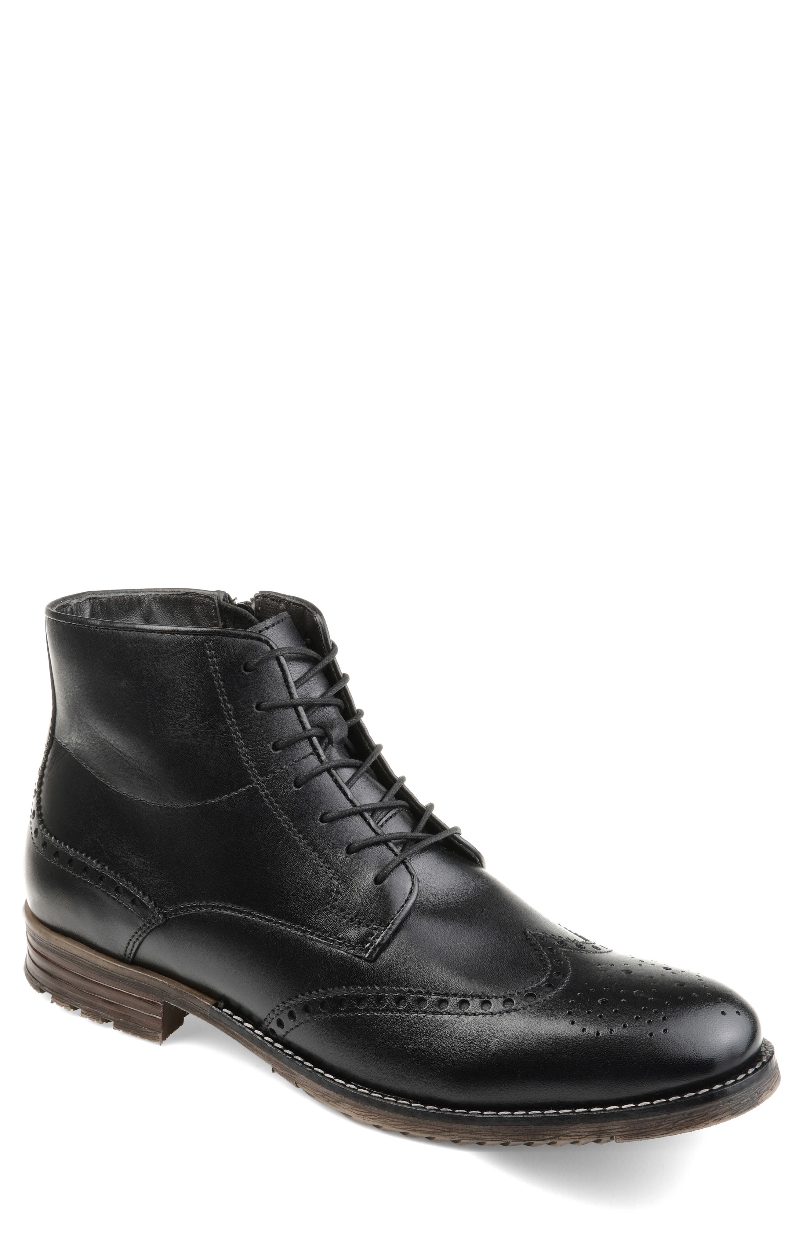 THOMAS AND VINE, Ryker Wingtip Boot, Main thumbnail 1, color, BLACK LEATHER