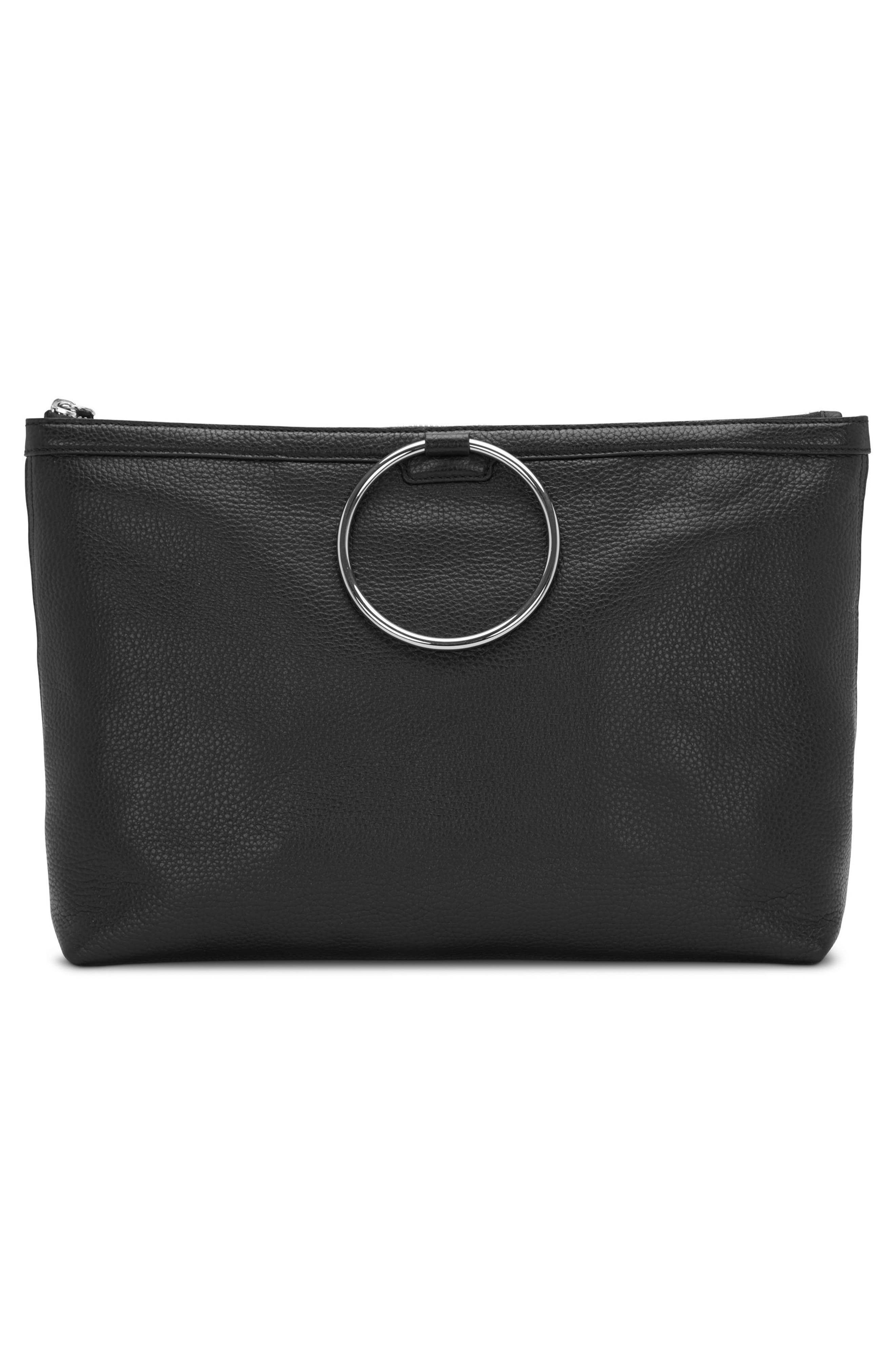 KARA, Large Pebbled Leather Ring Clutch, Alternate thumbnail 8, color, 001