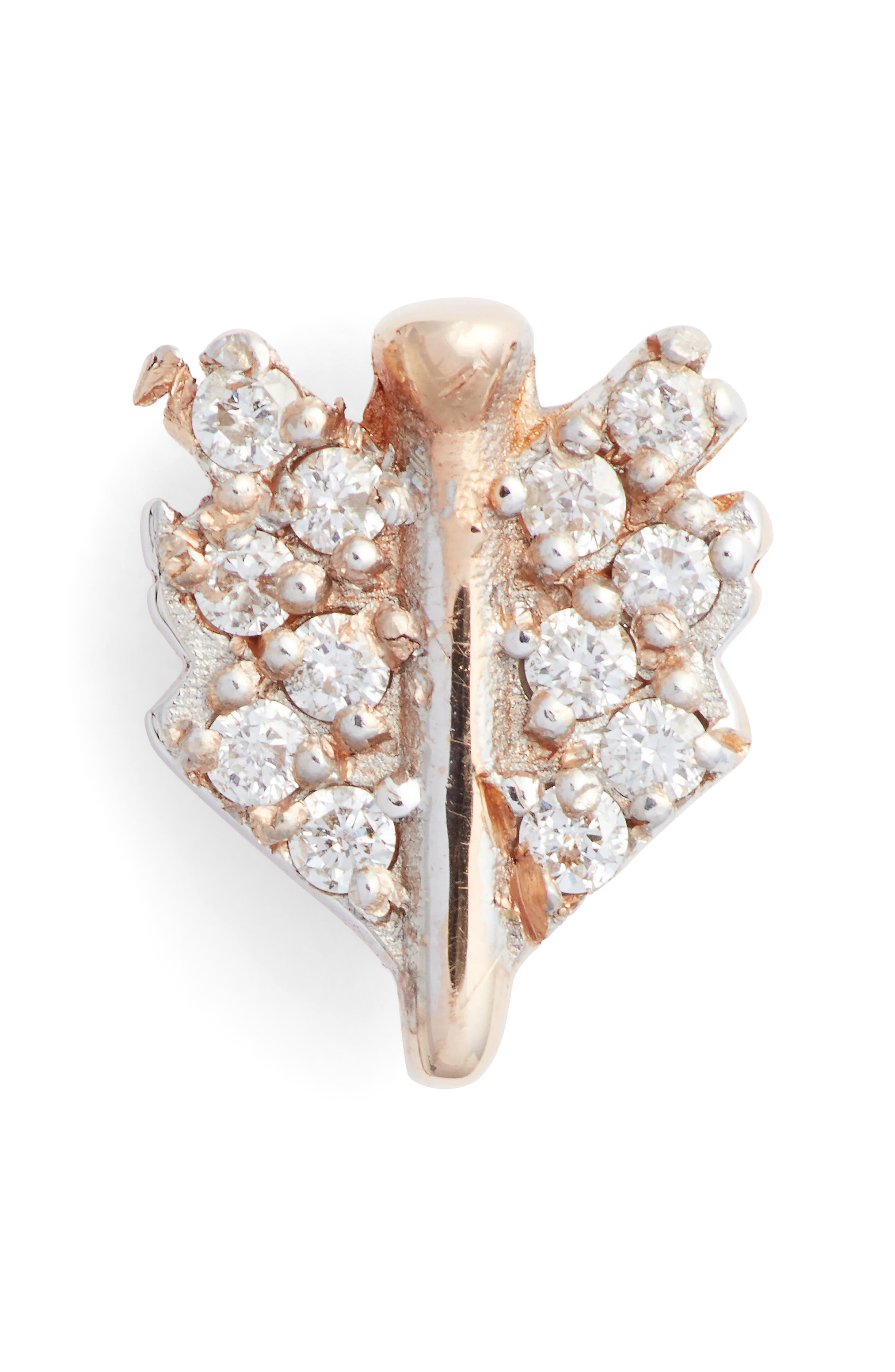 KISMET BY MILKA, Diamond Mini Quill Stud Earring, Main thumbnail 1, color, ROSE GOLD/ DIAMOND