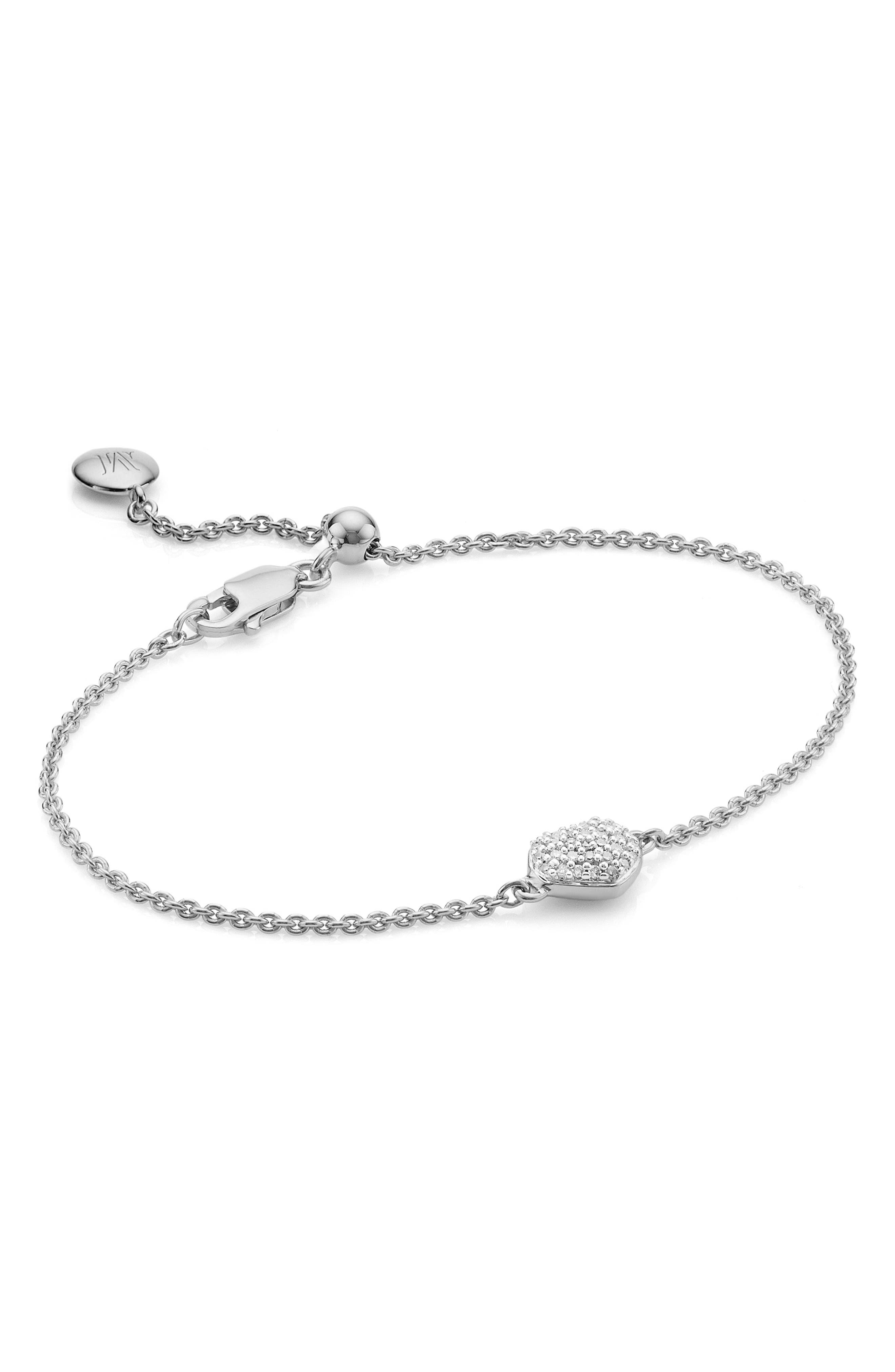MONICA VINADER, Nura Mini Diamond Heart Bracelet, Main thumbnail 1, color, SILVER/ DIAMOND