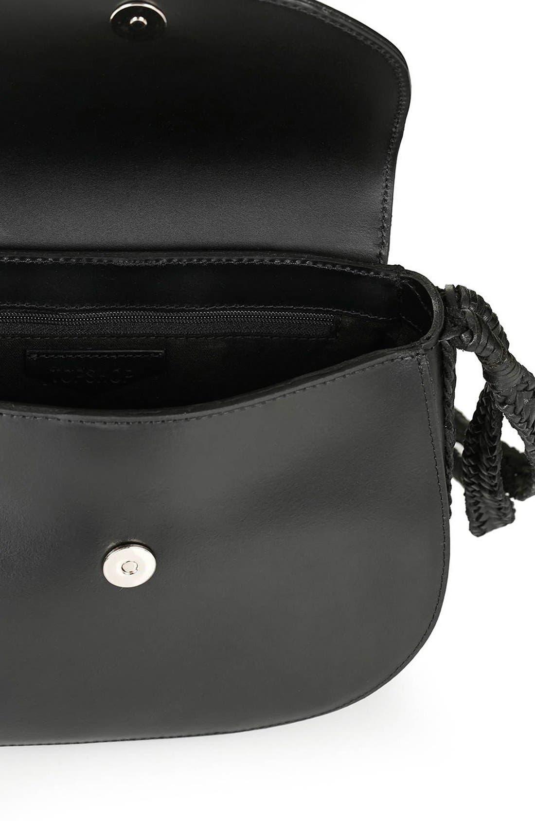 TOPSHOP, Woven Strap Leather Saddle Bag, Alternate thumbnail 2, color, 001