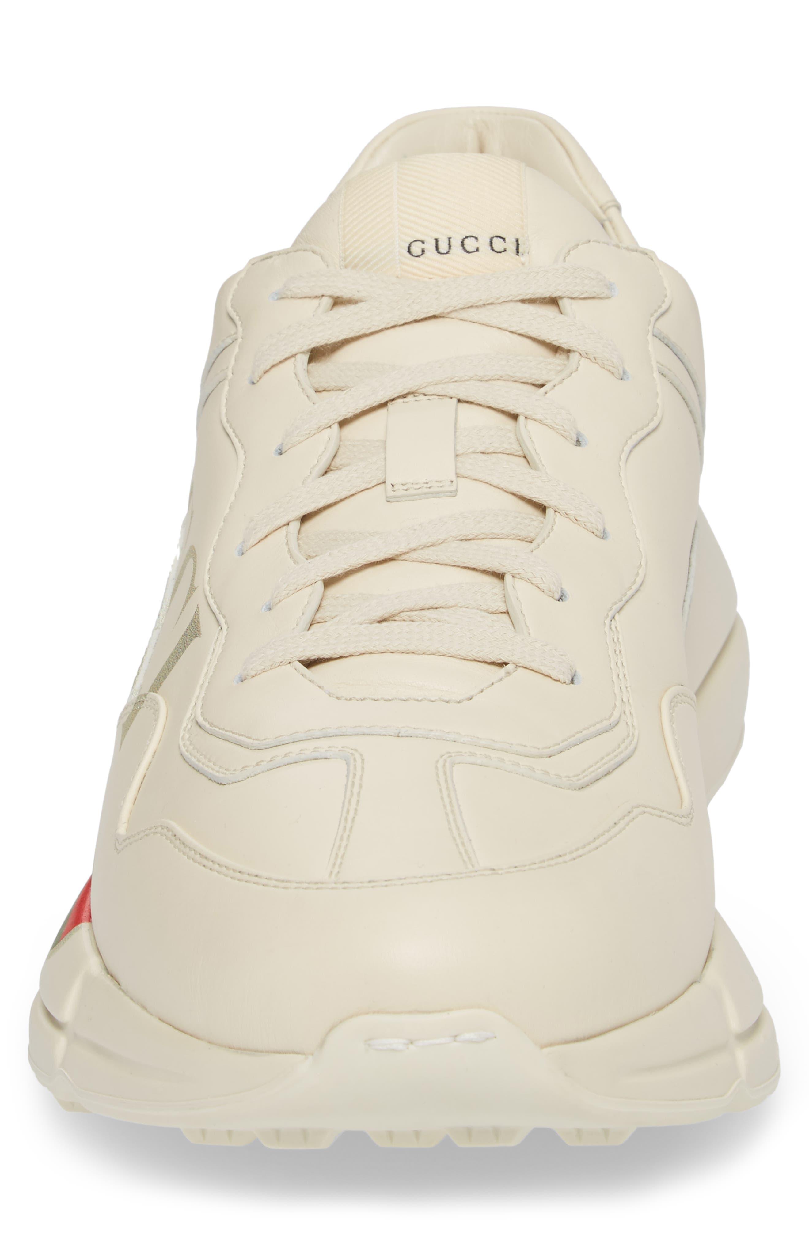 GUCCI, Logo Leather Sneaker, Alternate thumbnail 4, color, WHITE PRINT
