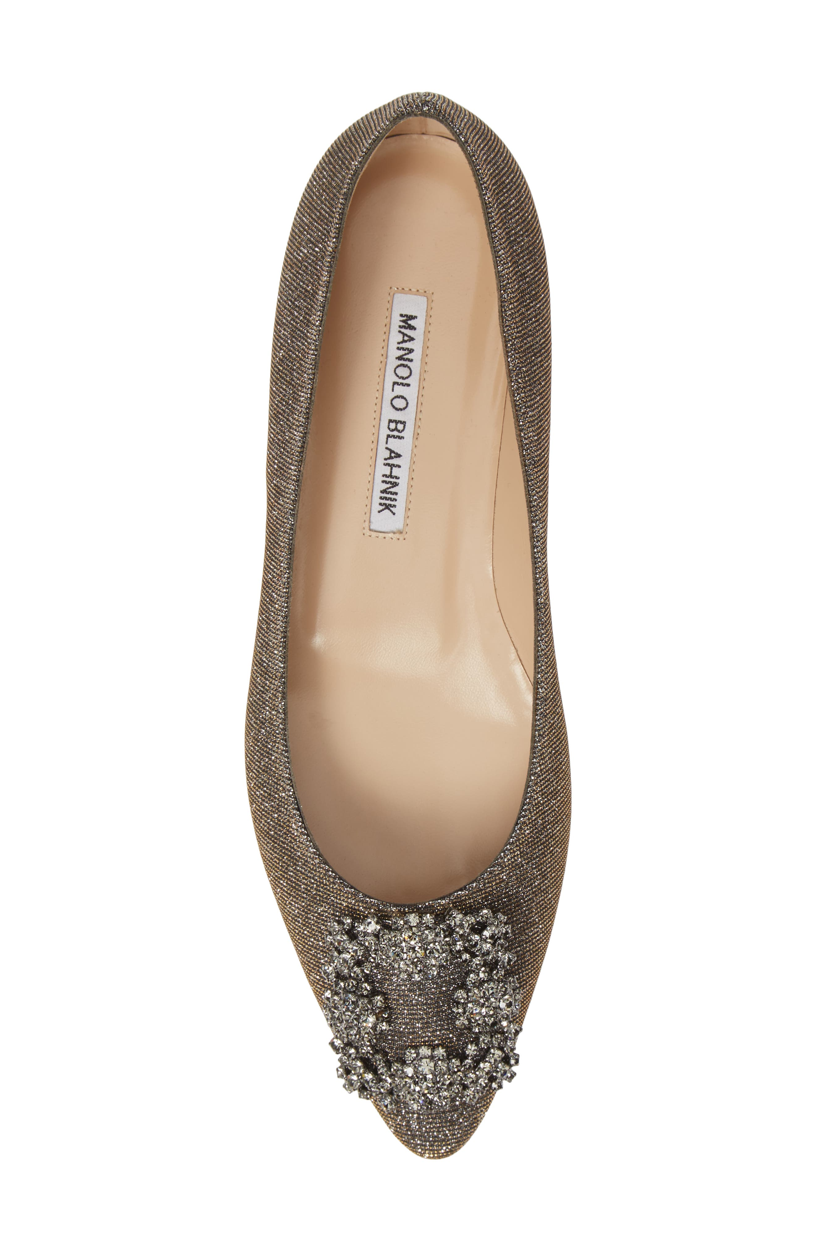 MANOLO BLAHNIK, 'Hangisi' Jeweled Pointy Toe Flat, Alternate thumbnail 5, color, BRONZE NOTTURNO