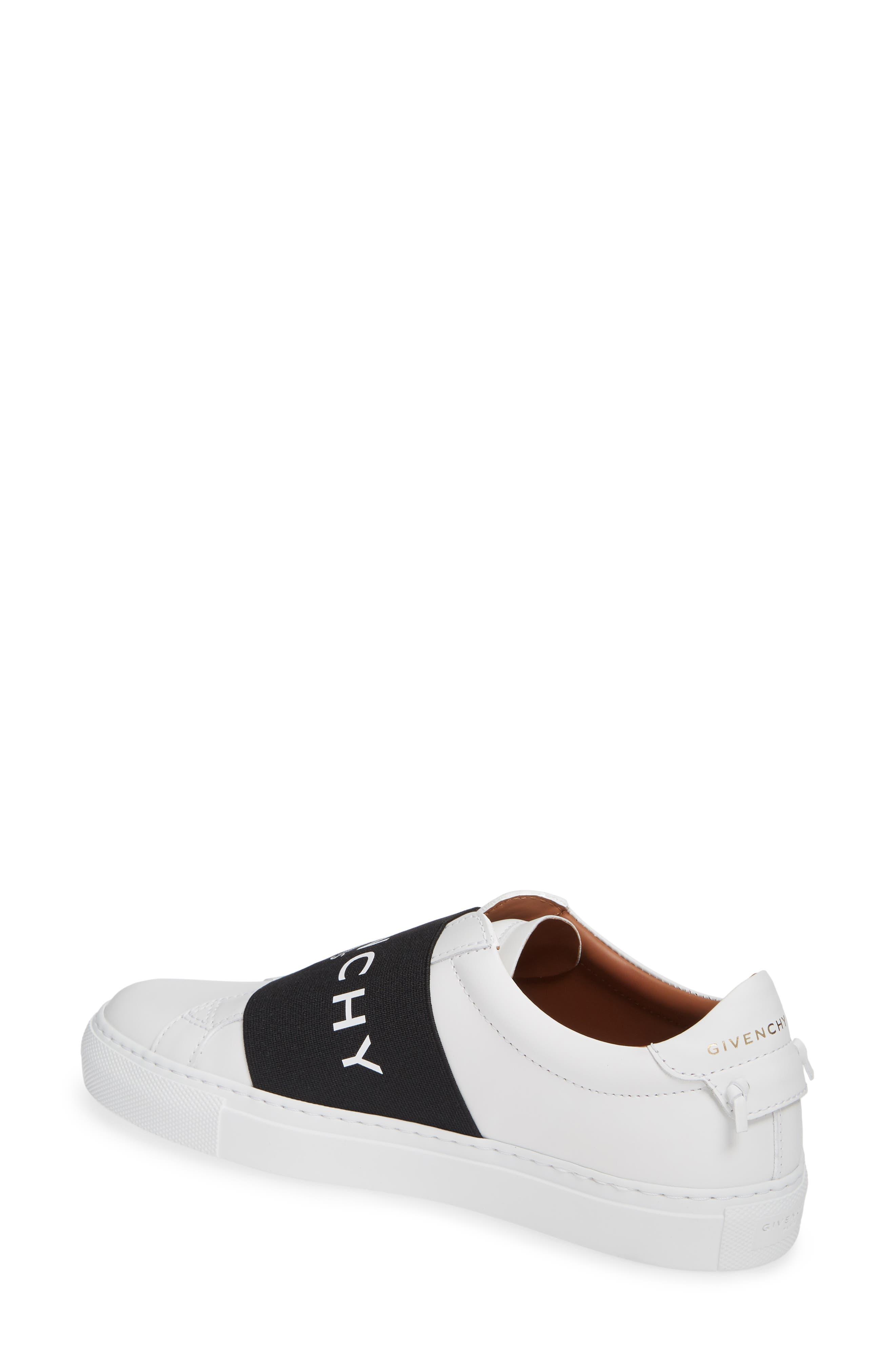 GIVENCHY, Logo Strap Slip-On Sneaker, Alternate thumbnail 2, color, WHITE