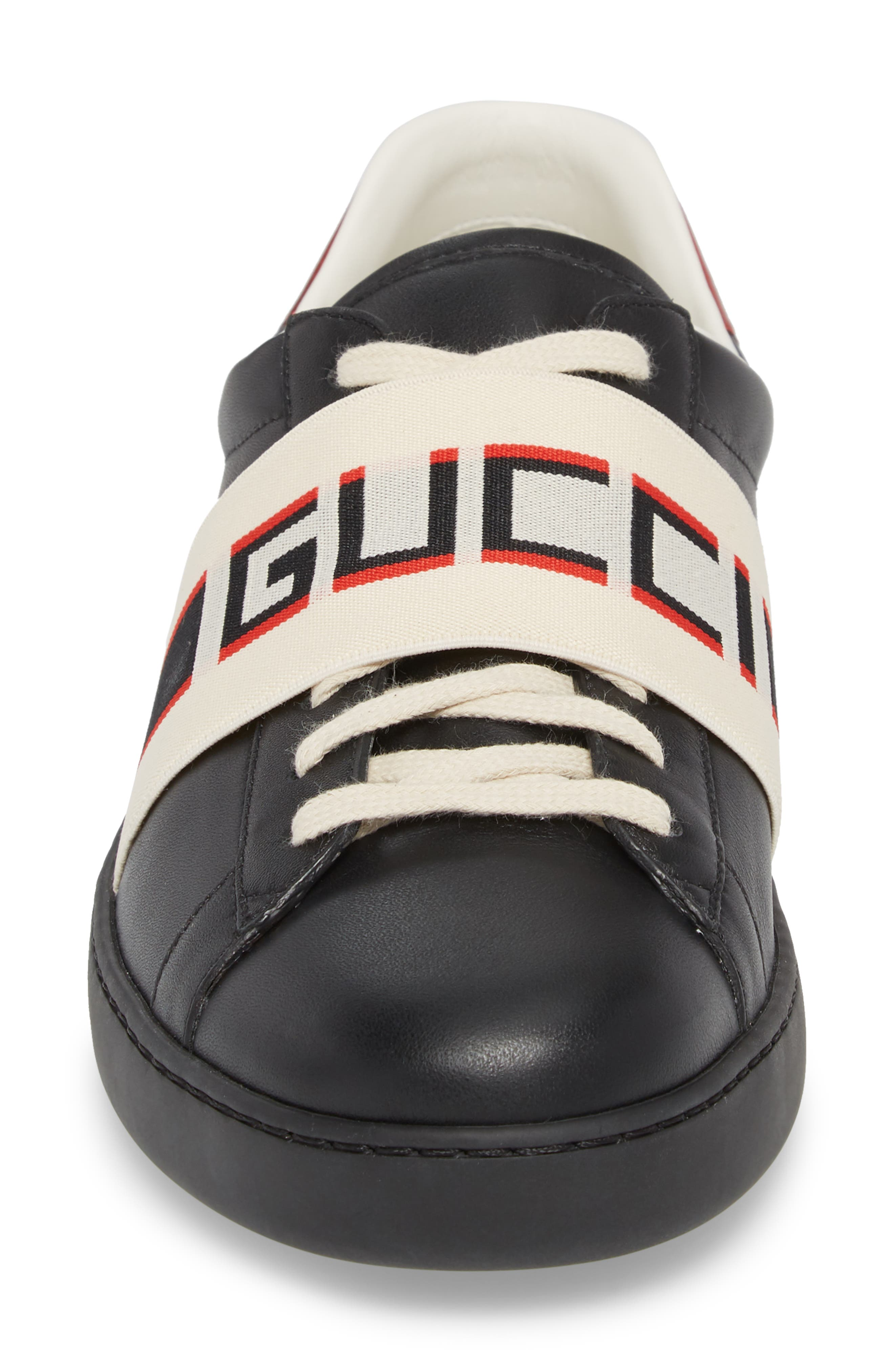 GUCCI, New Ace Stripe Leather Sneaker, Alternate thumbnail 4, color, BLACK