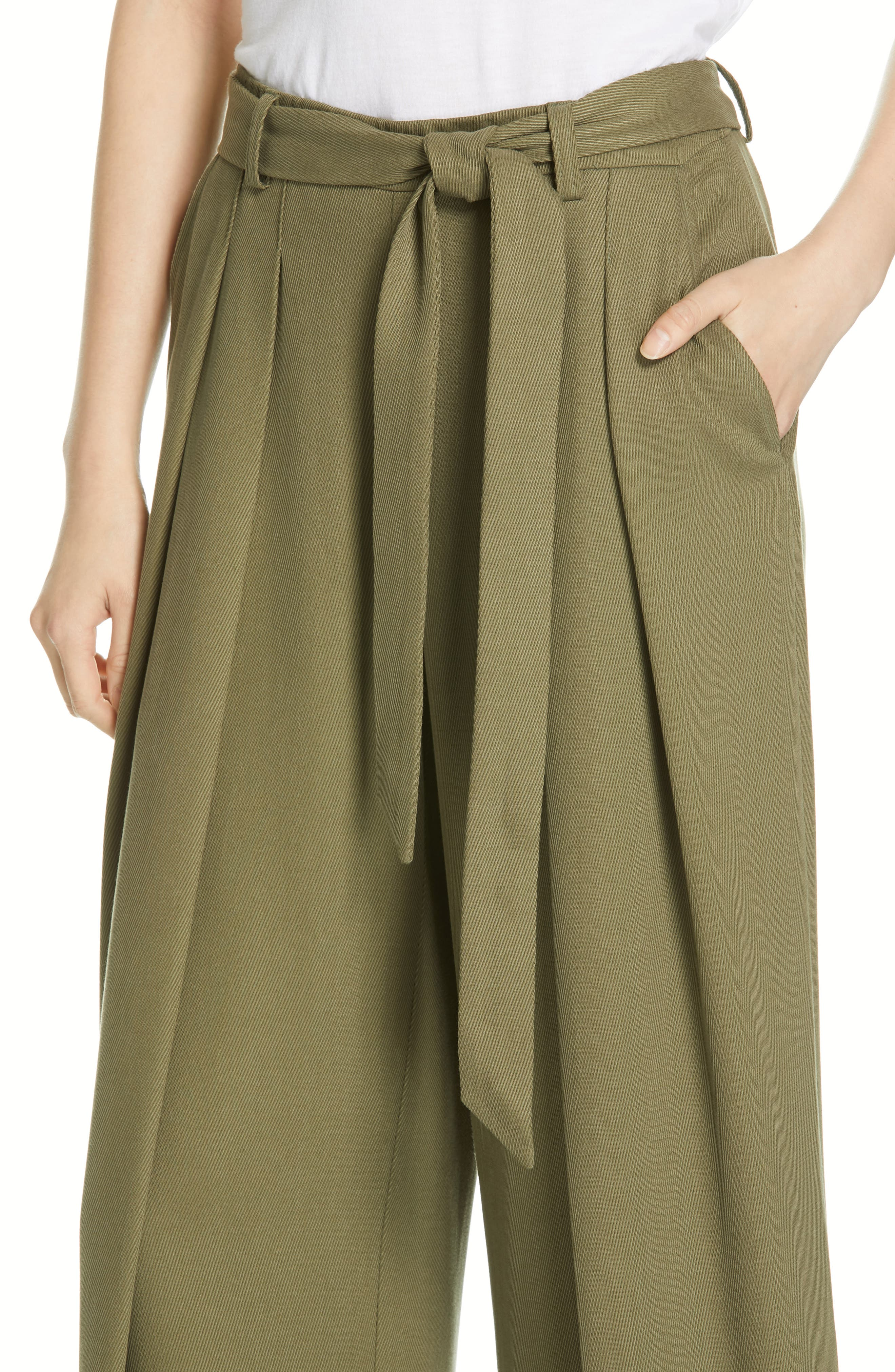EILEEN FISHER, Belted Wide Leg Pants, Alternate thumbnail 5, color, 301