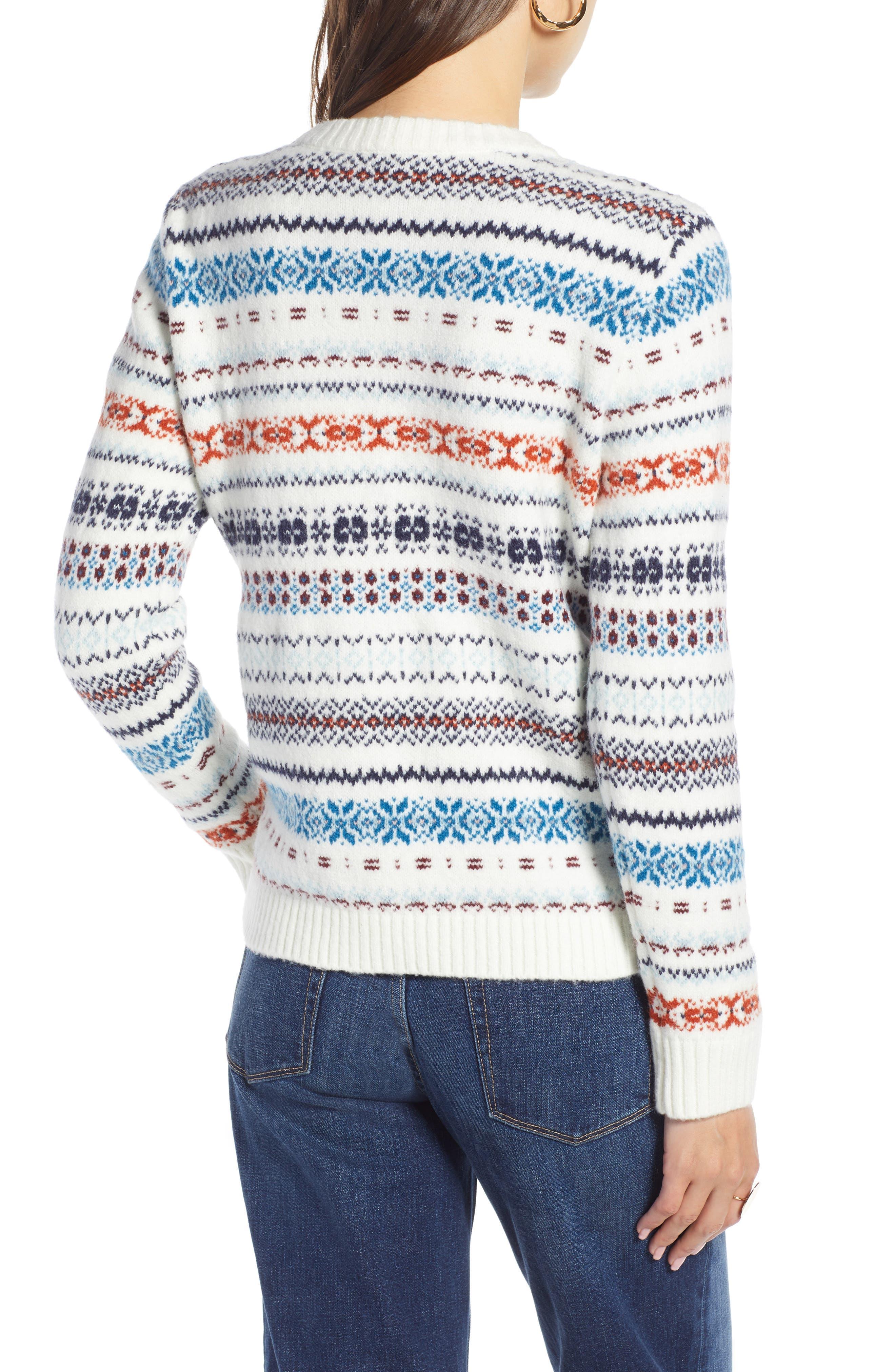 TREASURE & BOND, Fair Isle Sweater, Alternate thumbnail 2, color, 900