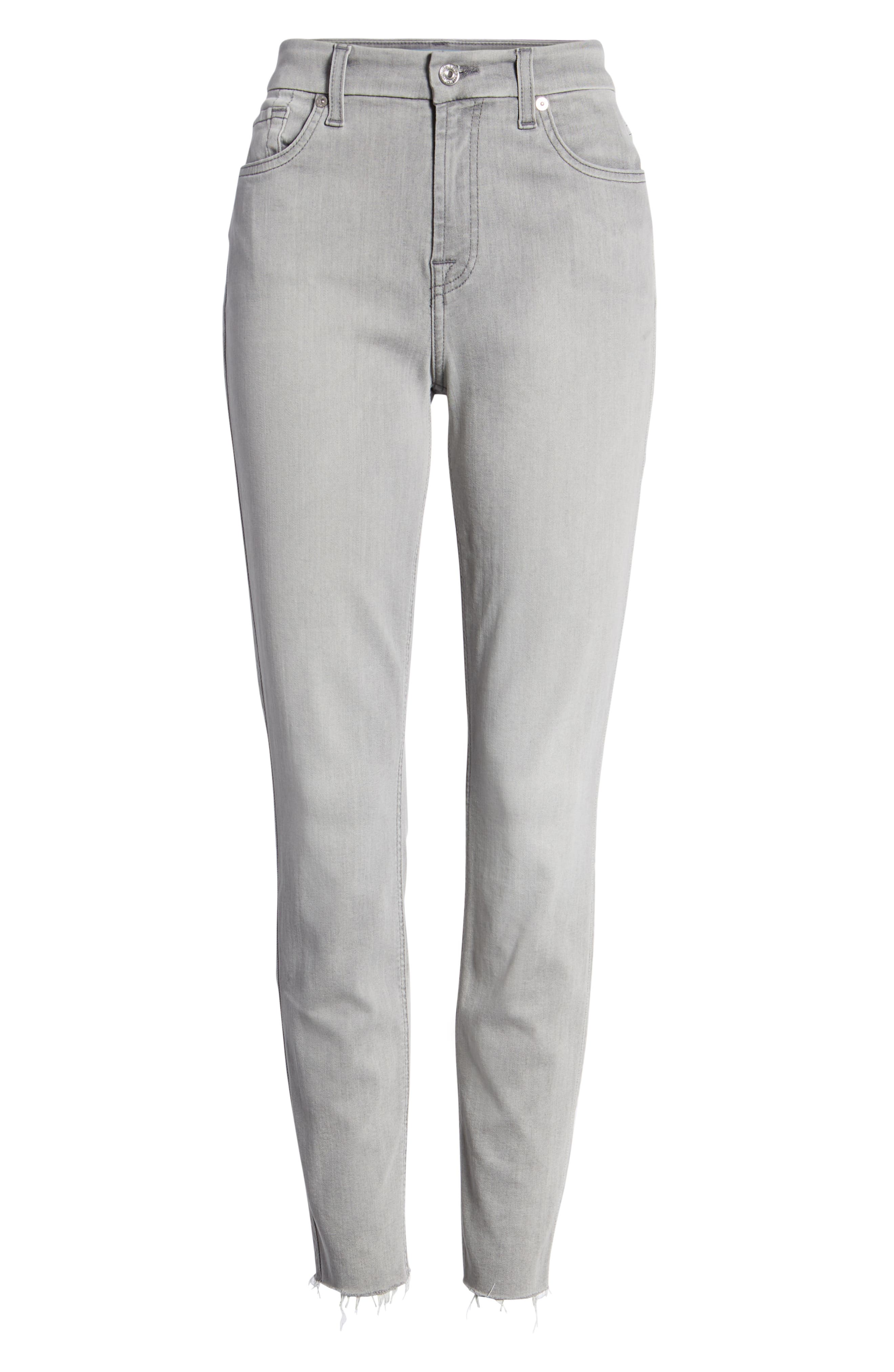 7 FOR ALL MANKIND<SUP>®</SUP>, b(air) High Waist Raw Hem Ankle Skinny Jeans, Alternate thumbnail 7, color, BAIR PURE SOFT GREY