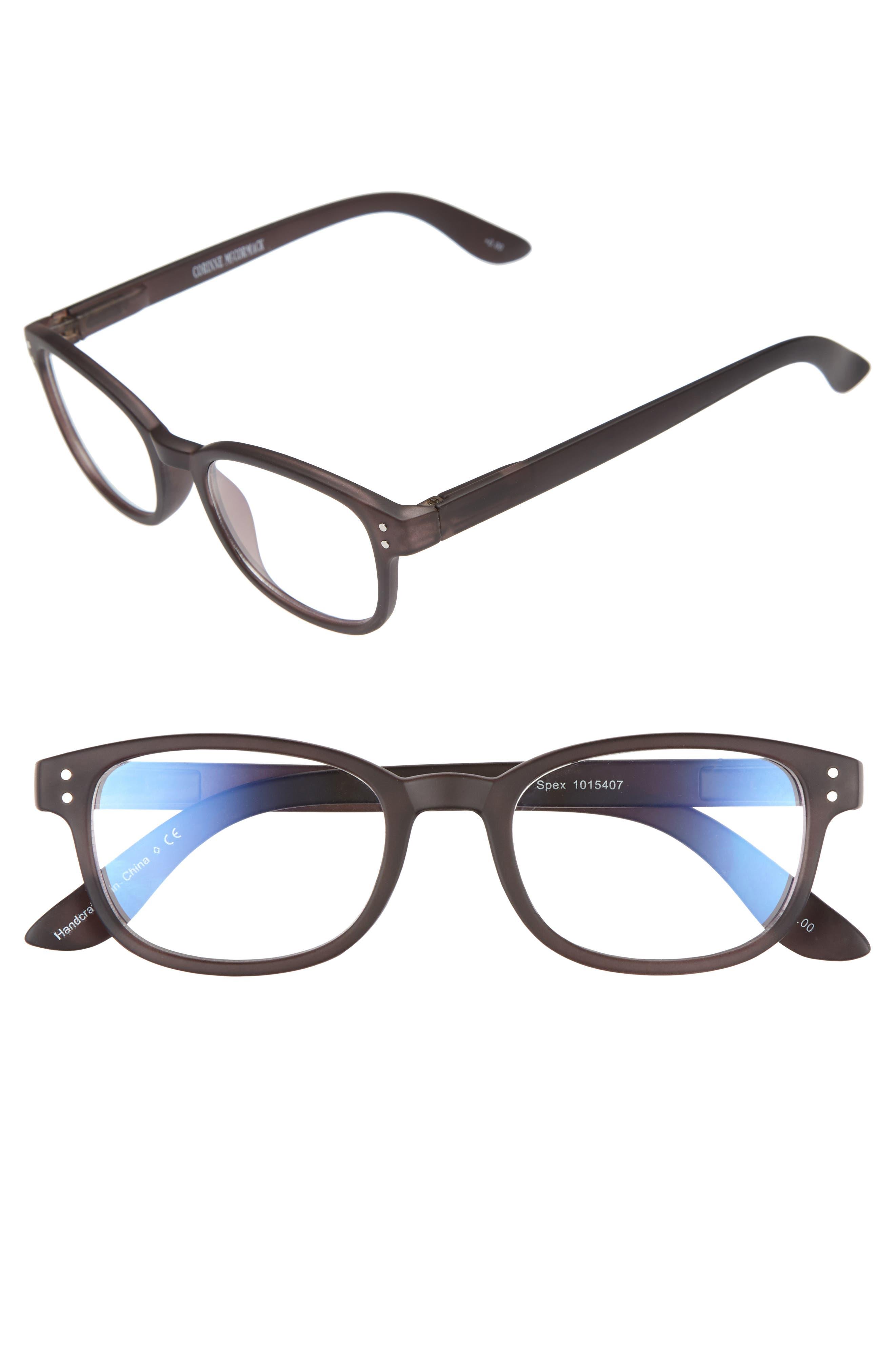 CORINNE MCCORMACK ColorSpex<sup>®</sup> 50mm Blue Light Blocking Reading Glasses, Main, color, BLACK