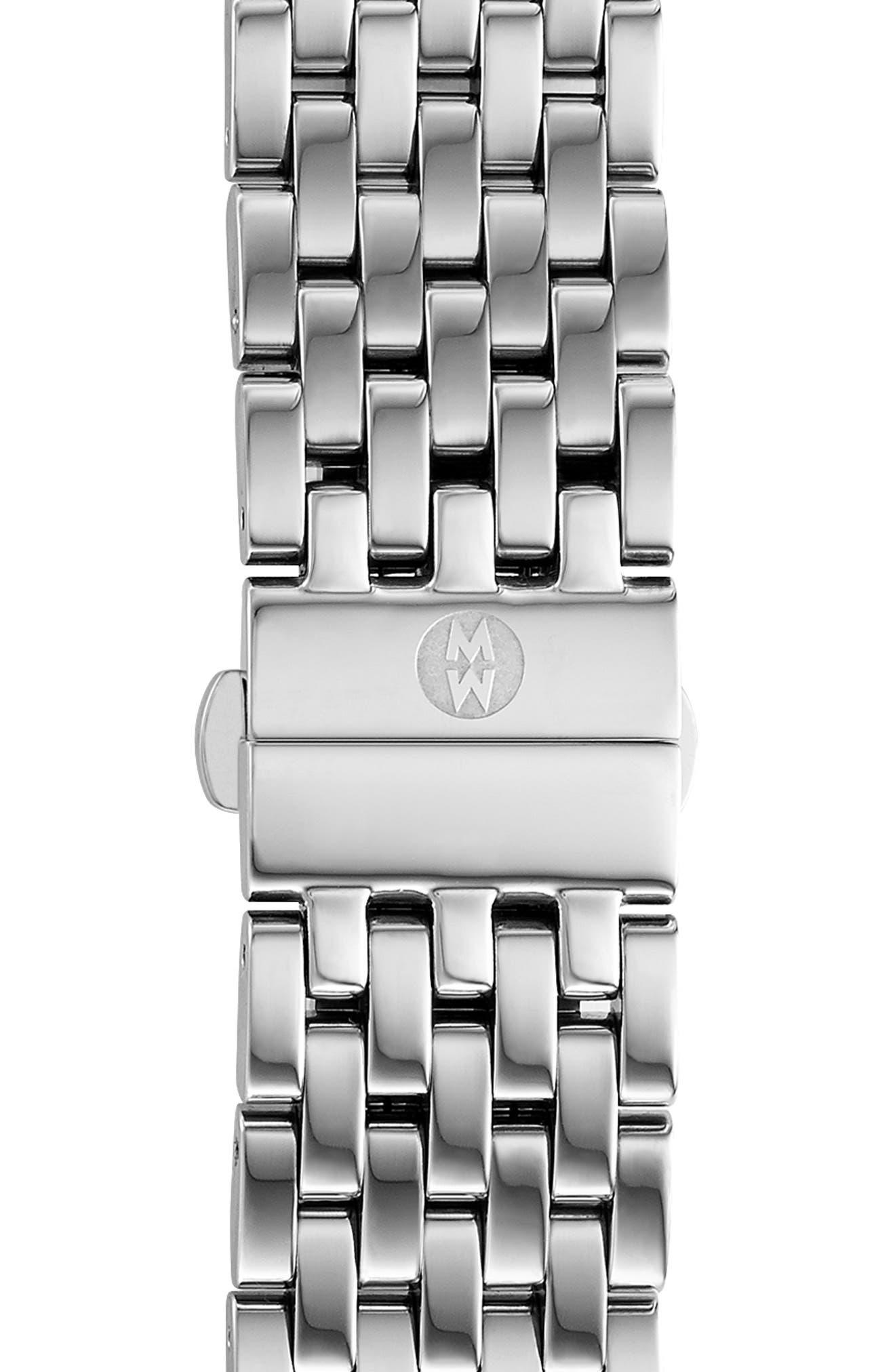 MICHELE Deco 18mm Bracelet Watchband, Main, color, SILVER