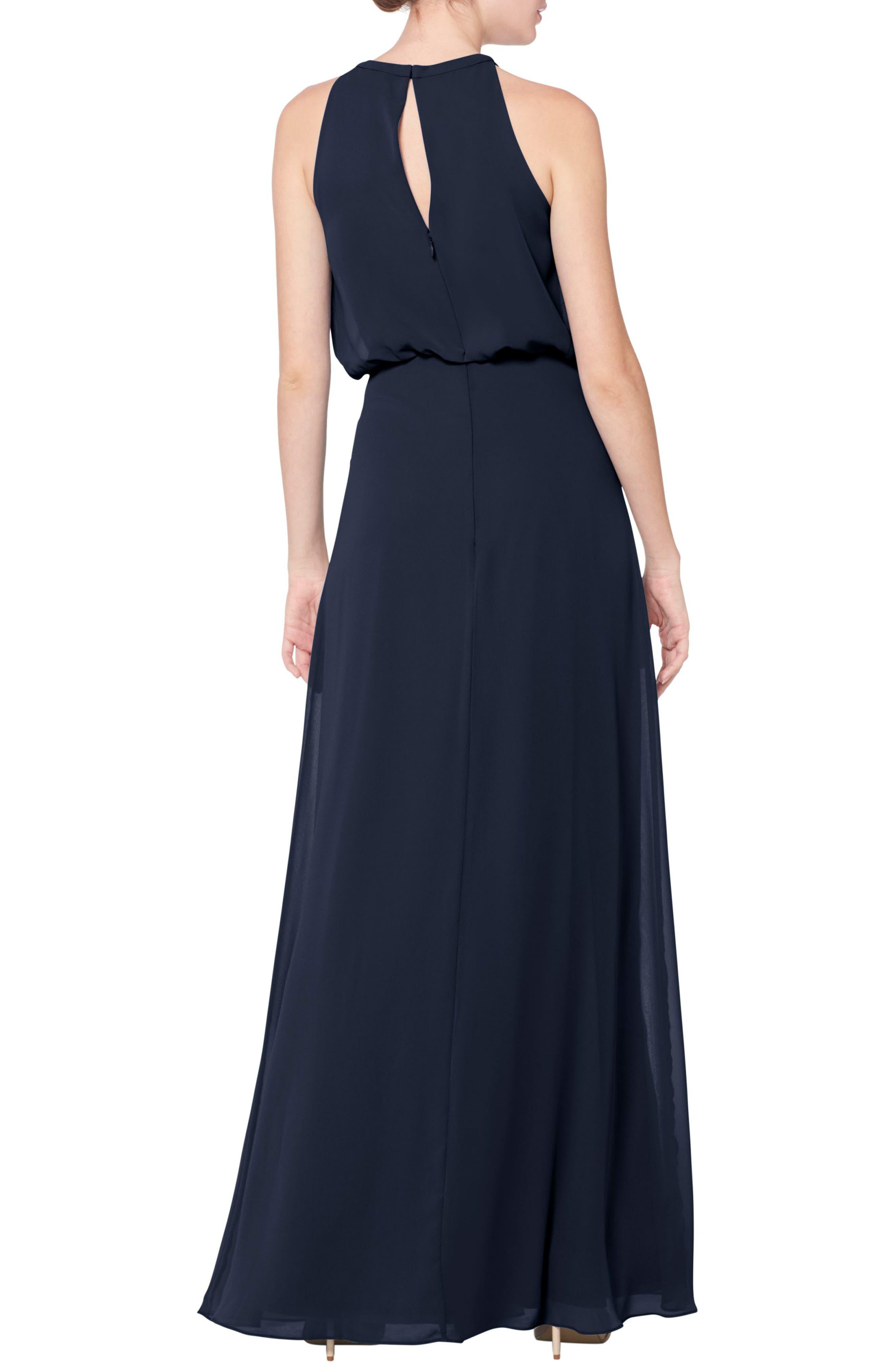 #LEVKOFF, Halter Neck Blouson Bodice Chiffon Evening Dress, Alternate thumbnail 2, color, NAVY