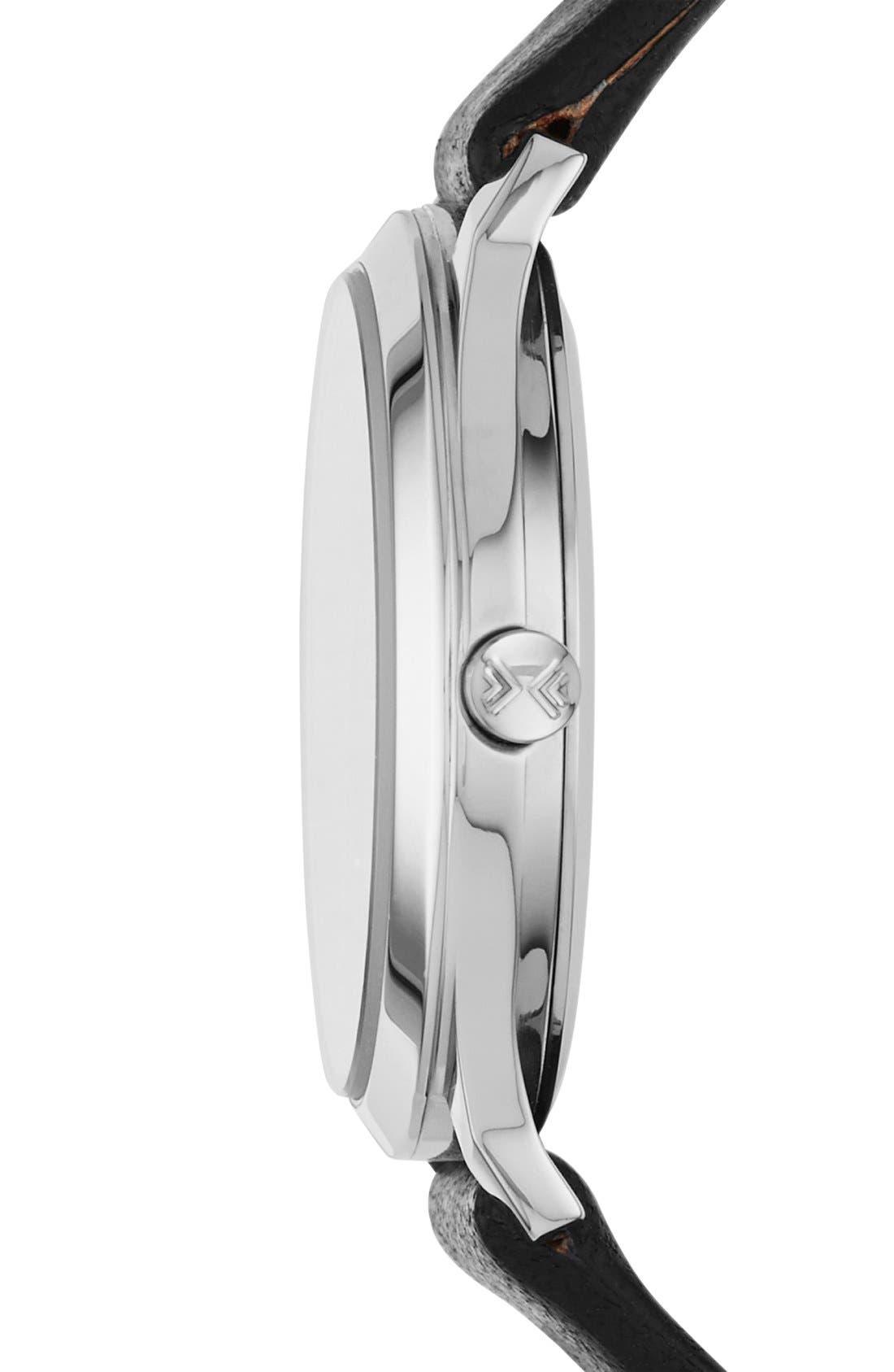 SKAGEN, 'Jorn' Leather Strap Watch, 30mm, Alternate thumbnail 3, color, 001