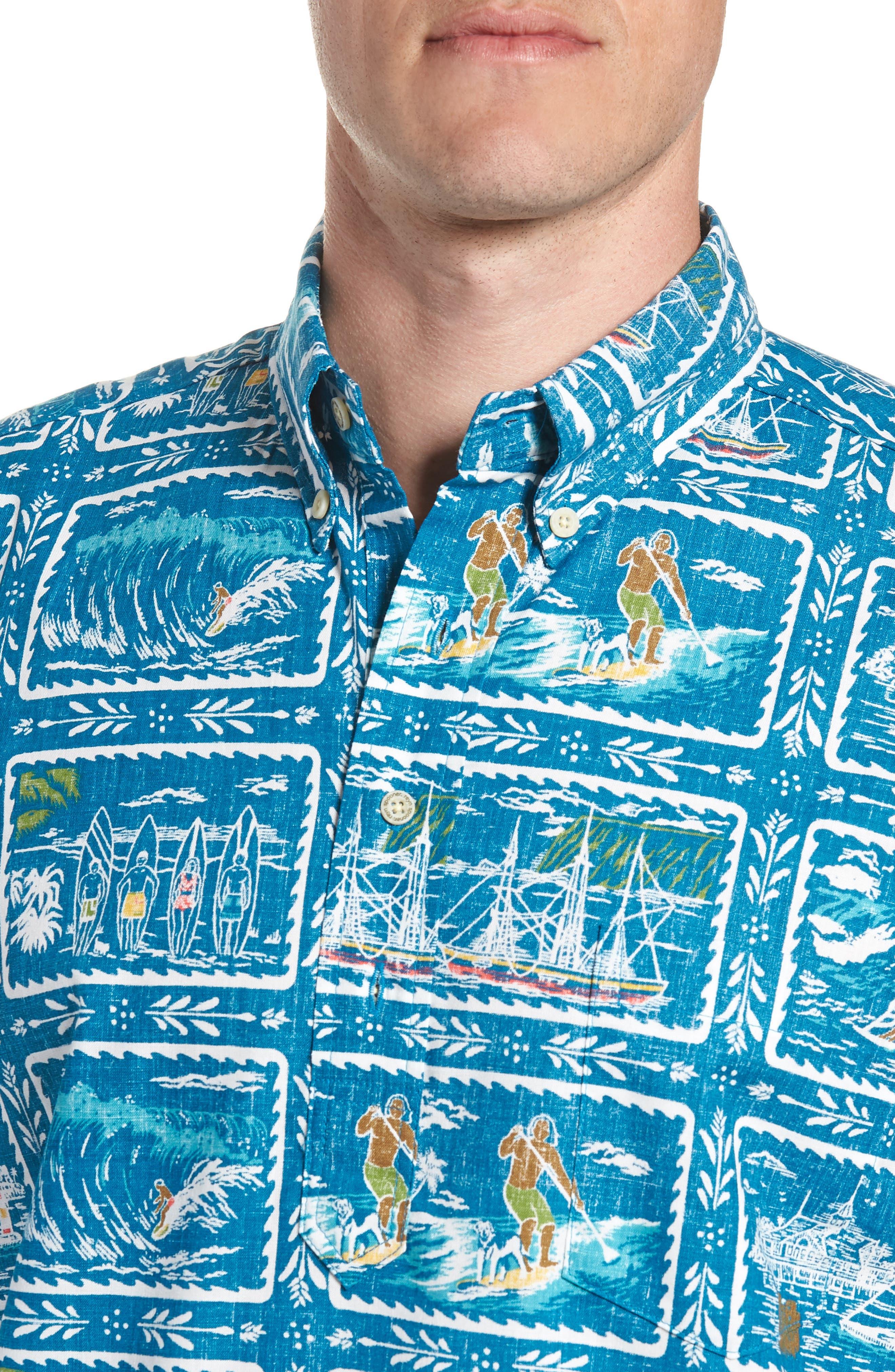 REYN SPOONER, Hawaiian Sports Classic Fit Pullover Sport Shirt, Alternate thumbnail 2, color, BLUE