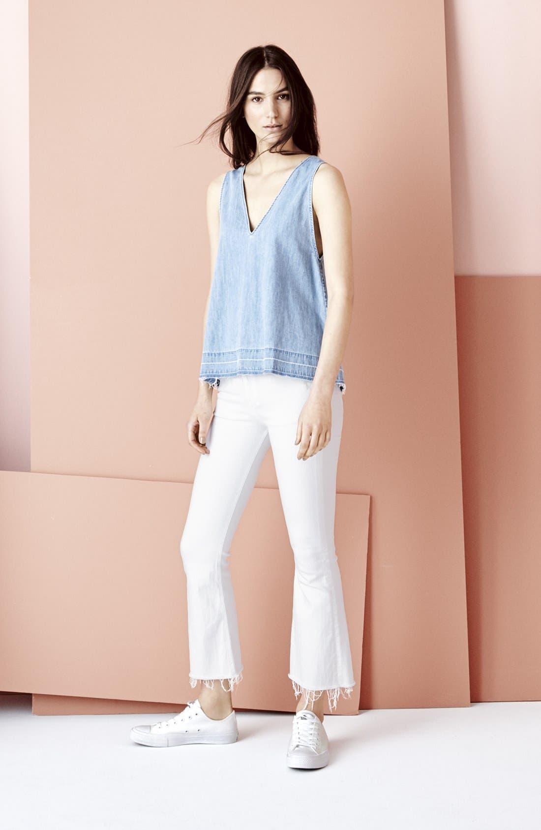 RAG & BONE, High Rise Raw Hem Crop Flare Jeans, Alternate thumbnail 6, color, BRIGHT WHITE