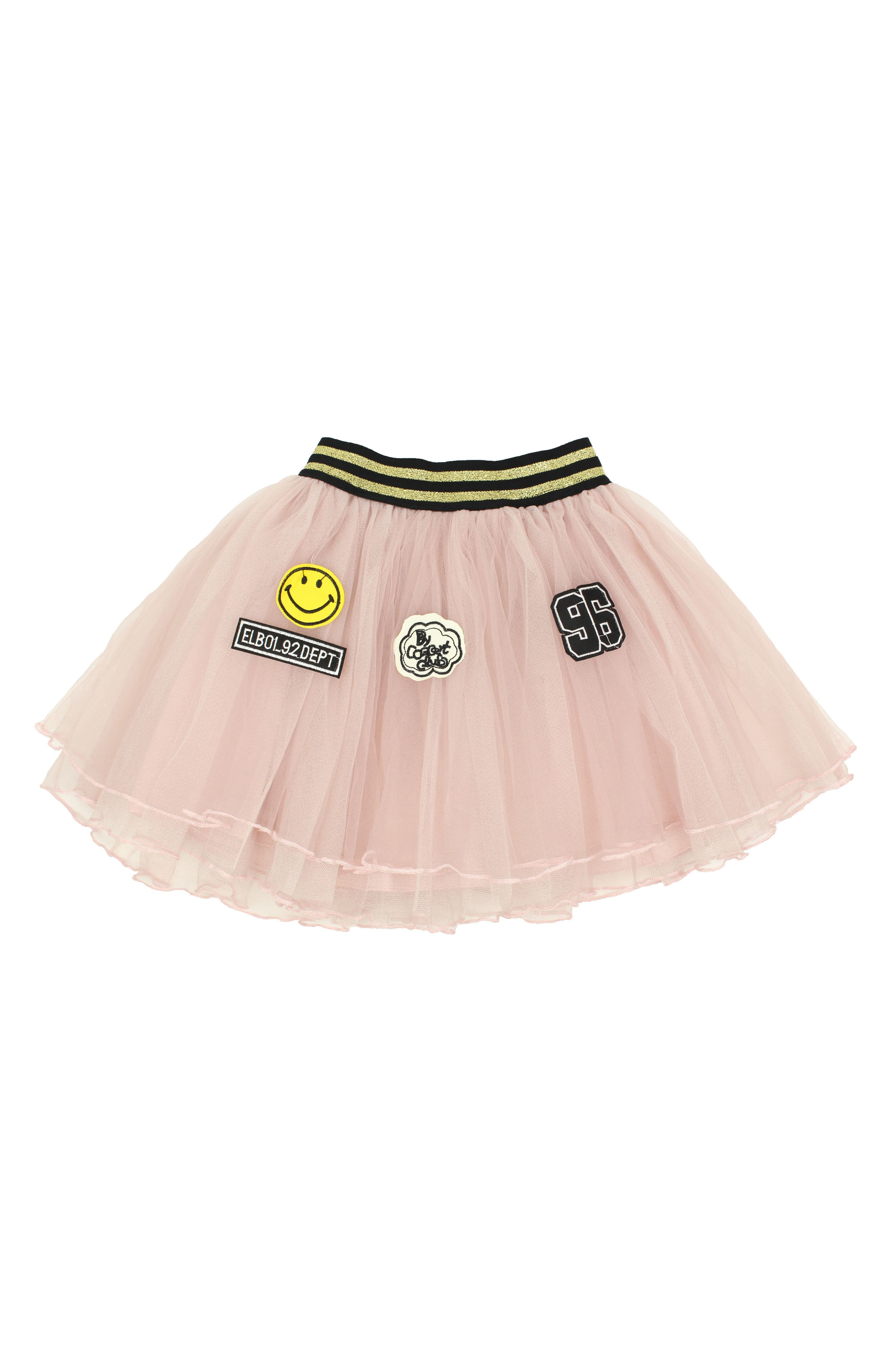POPATU Varsity Patches Tulle Skirt, Main, color, PINK