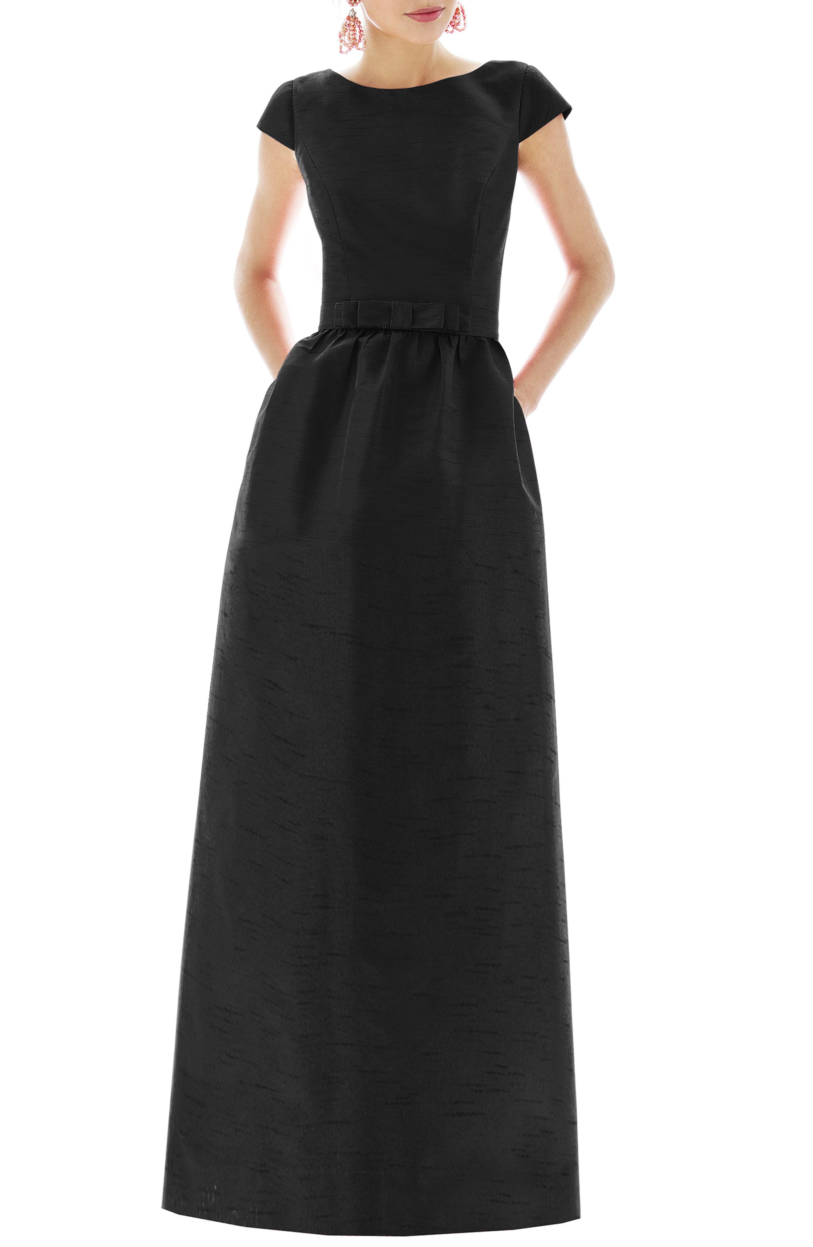Alfred Sung Cap Sleeve Dupioni Full Length Dress, Black