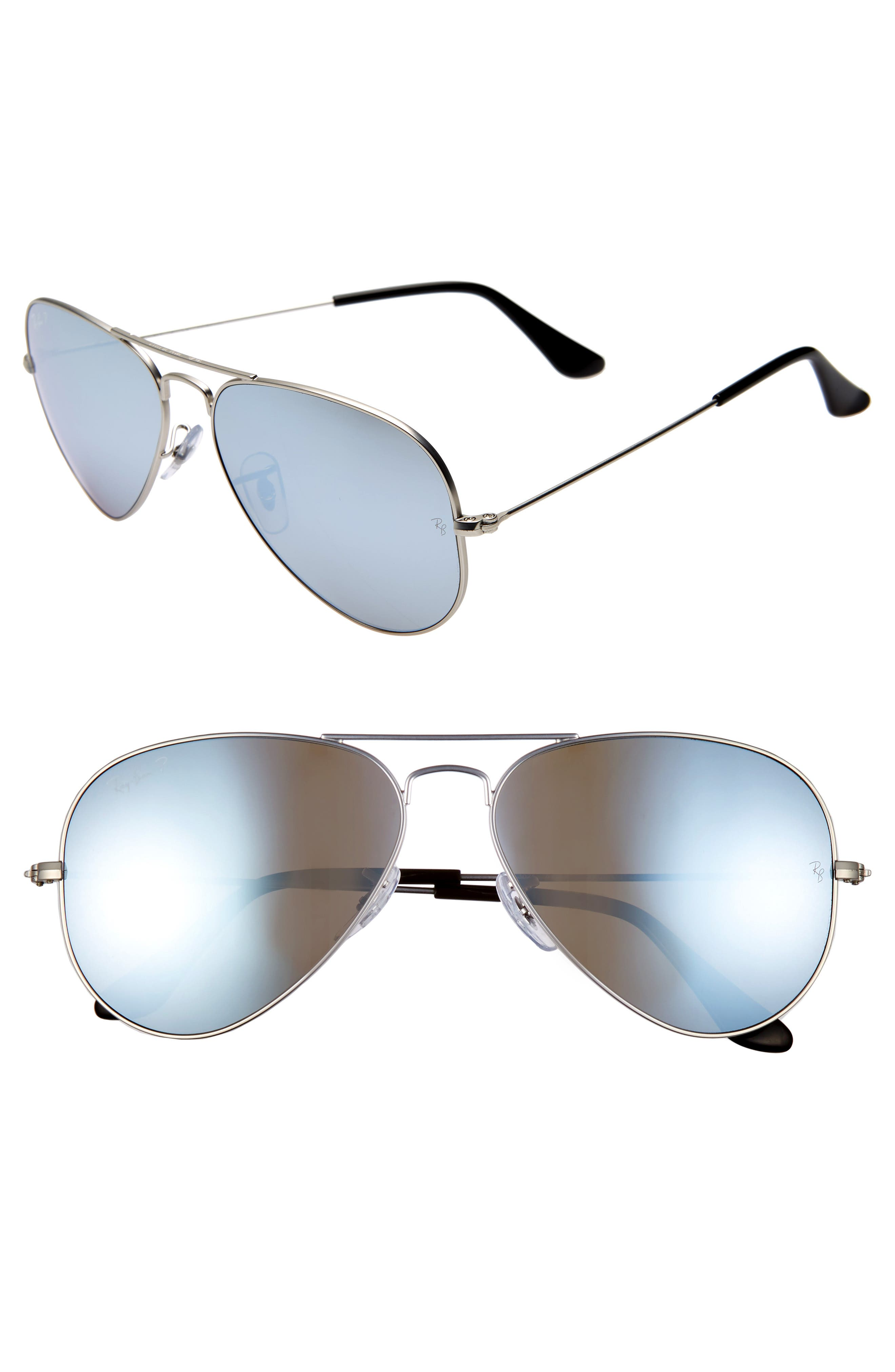RAY-BAN, Standard Icons 58mm Mirrored Polarized Aviator Sunglasses, Main thumbnail 1, color, SILVER/ SILVER MIRROR