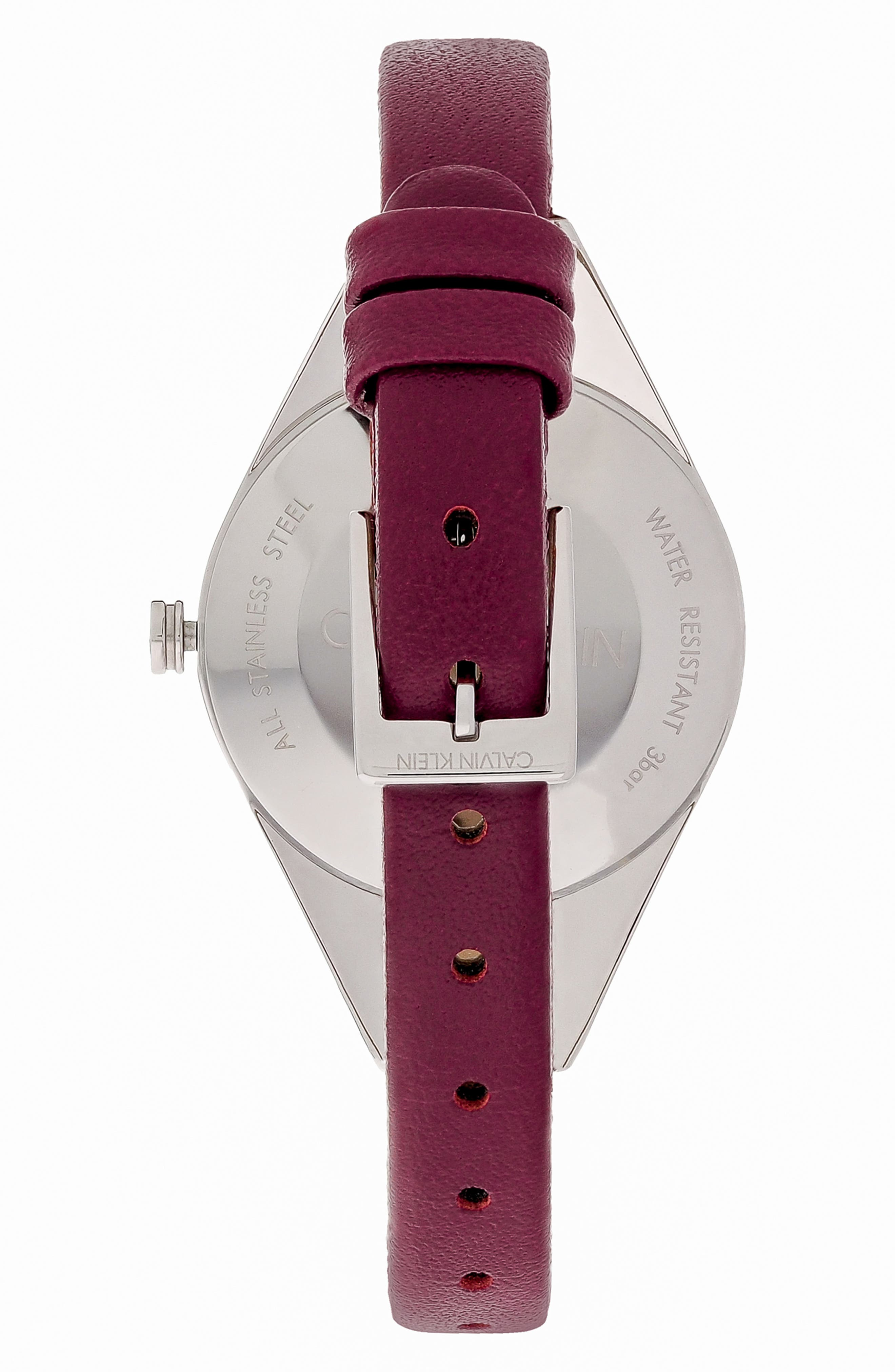 CALVIN KLEIN, Achieve Rebel Leather Band Watch, 29mm, Alternate thumbnail 2, color, RED/ BLUE/ SILVER
