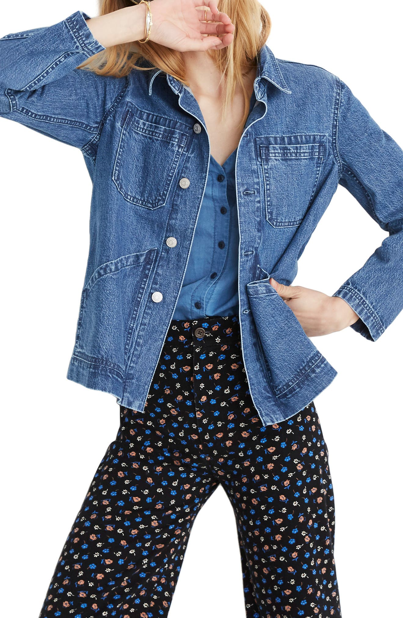 MADEWELL, Denim Patch Pocket Chore Coat, Main thumbnail 1, color, 400
